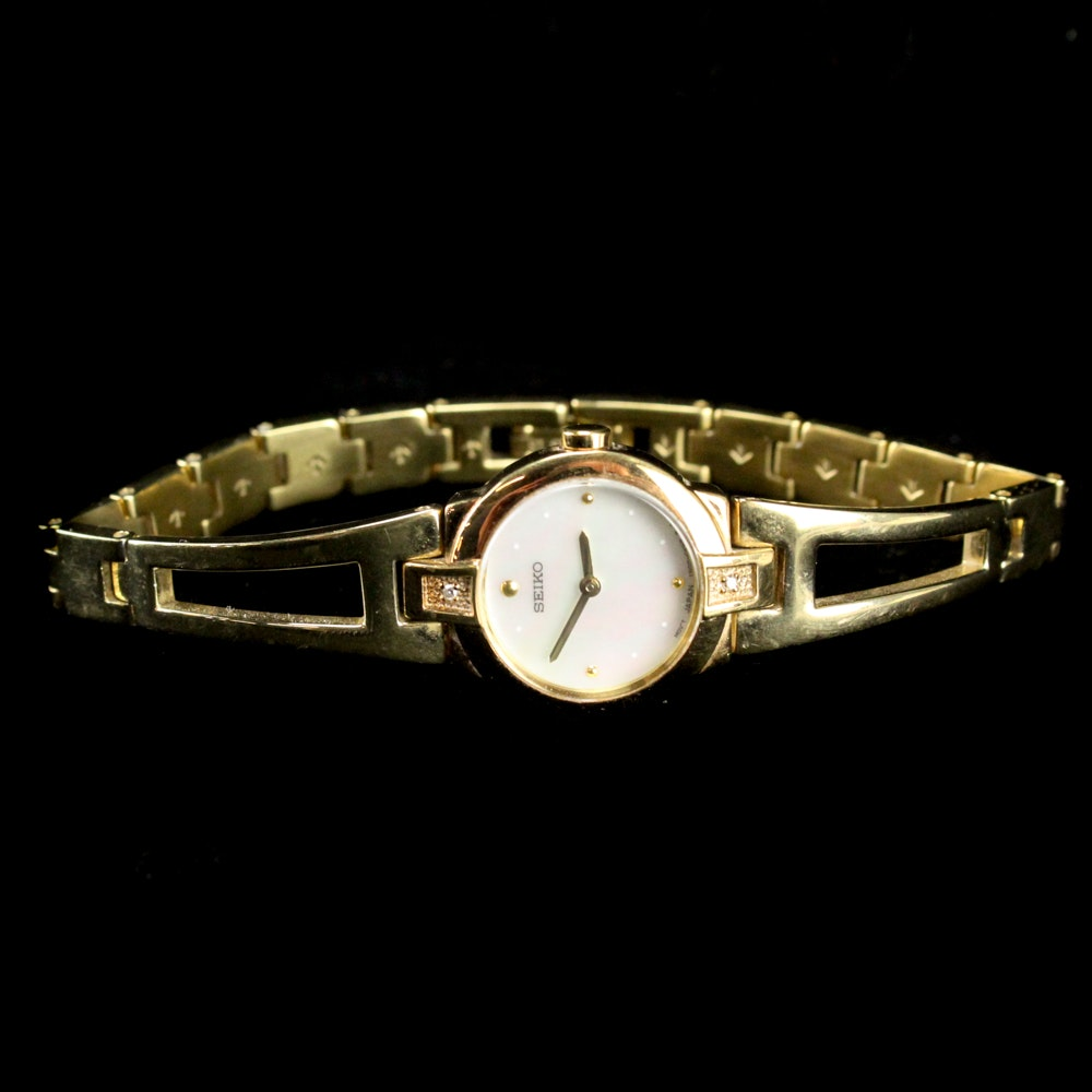 Seiko Gold Tone Wristwatch with Mother of Pearl