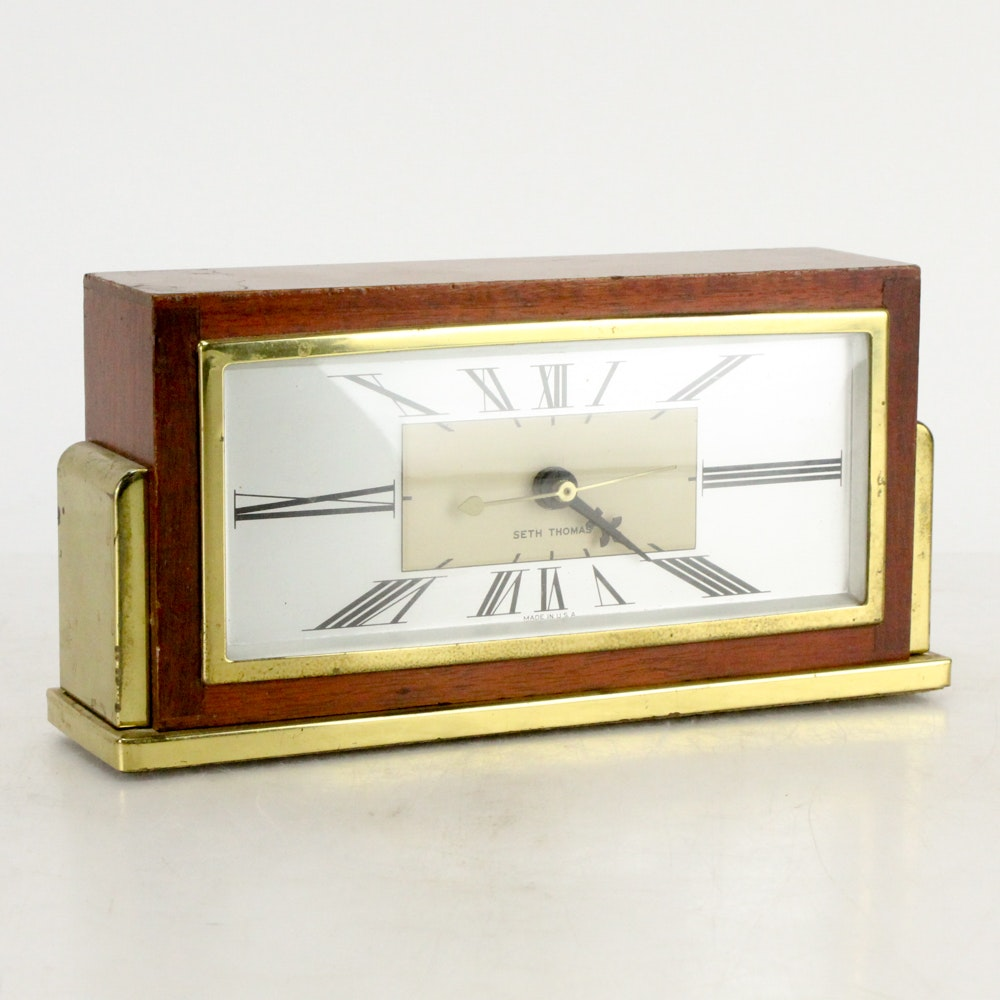 "Mid Century Seth Thomas ""Baxter"" Desk Clock With Replaced Power Source"