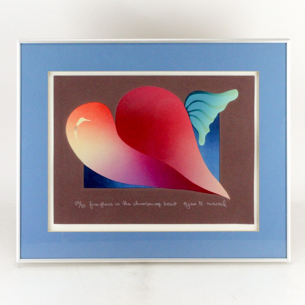 "Marcel Limited Edition Color Lithograph ""Fire Glows in the Shimmering Heart"""
