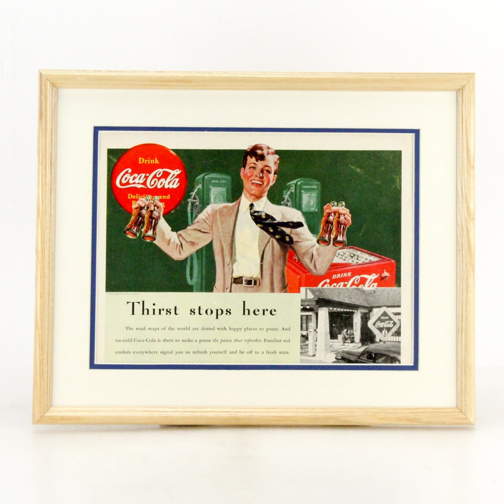 "1938 Framed Original ""Coca-Cola"" Advertisement"