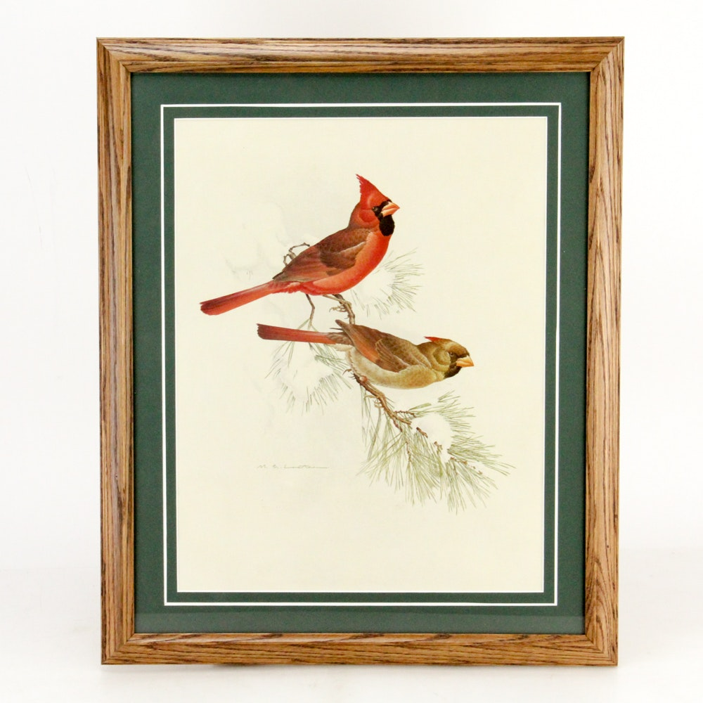 "M. Glen Loates Framed Wildlife Reproduction ""Eastern Cardinal"""