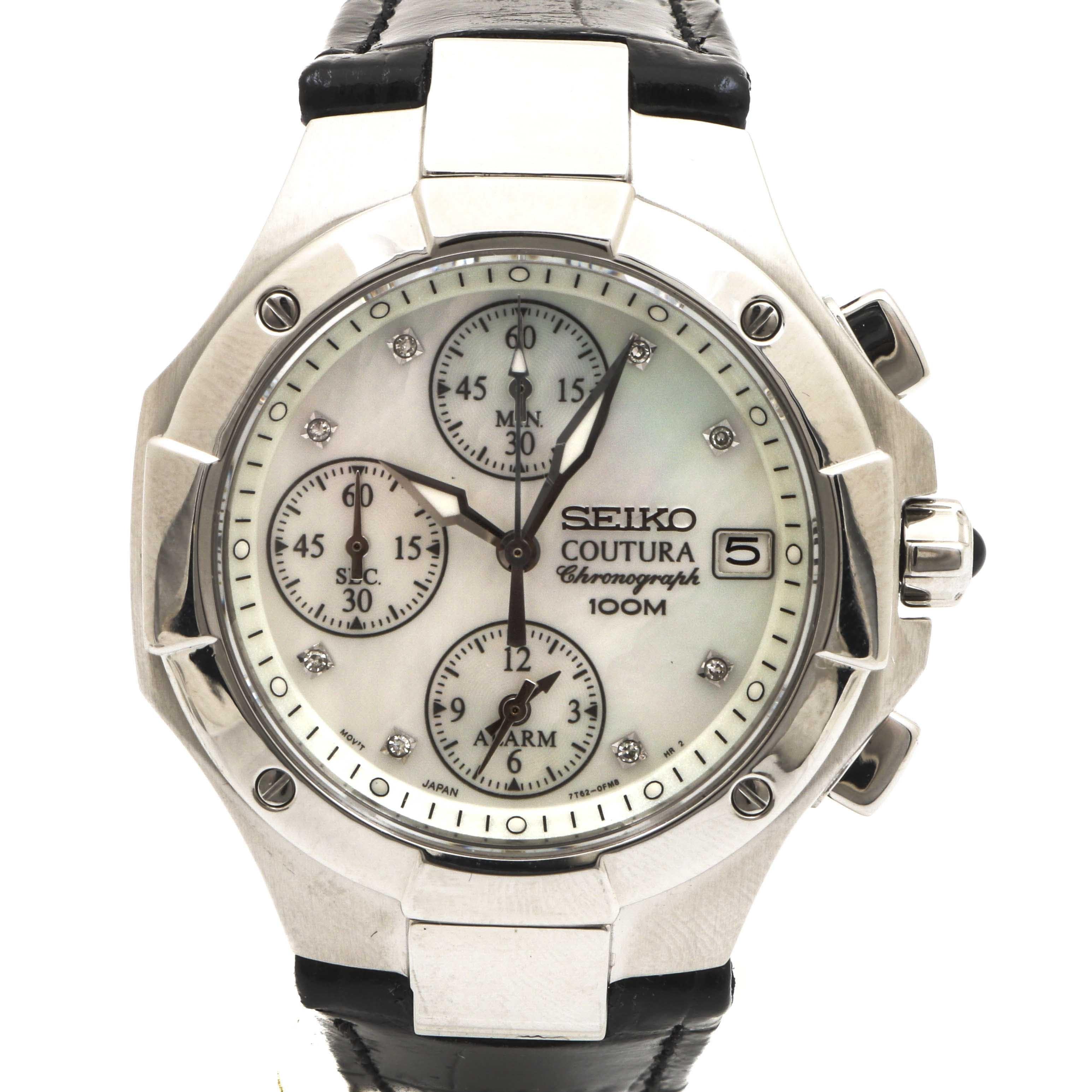 Seiko Coutura Diamond Stainless Steel Wristwatch