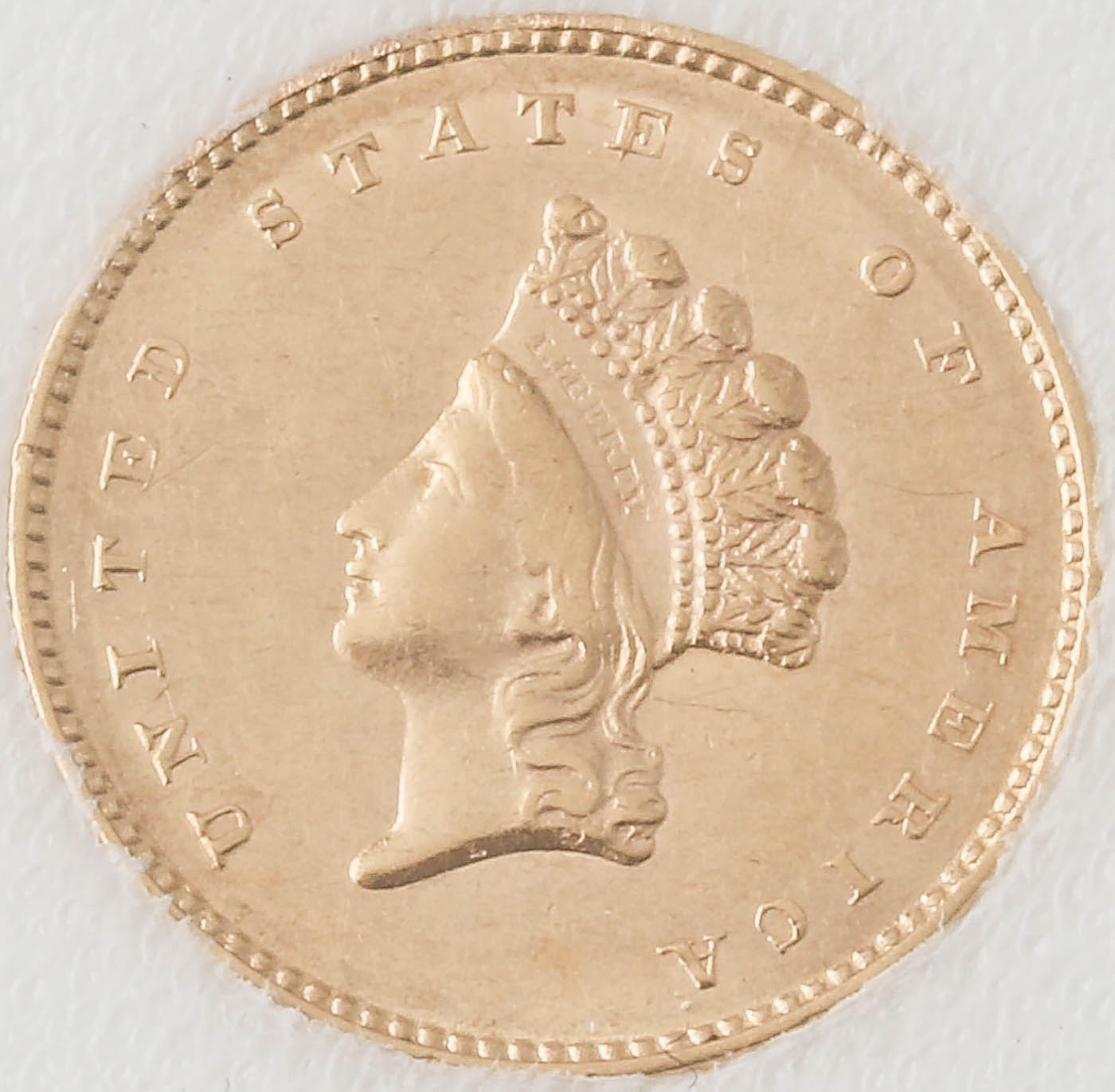 1854 Type II Indian Head Princess $1 Gold Coin