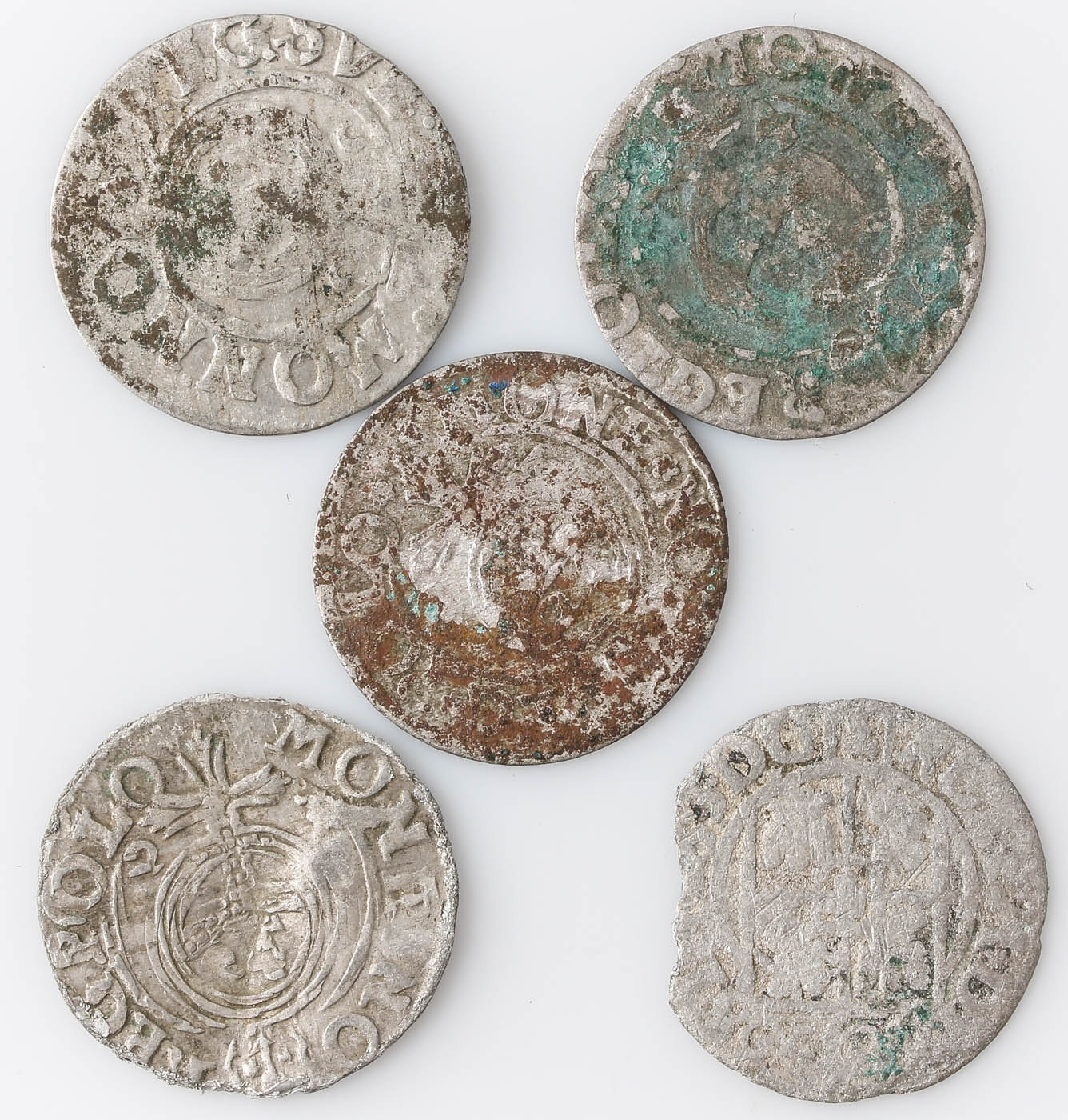 Group of Five 17th Century Polish–Lithuanian Commonwealth Silver Coins