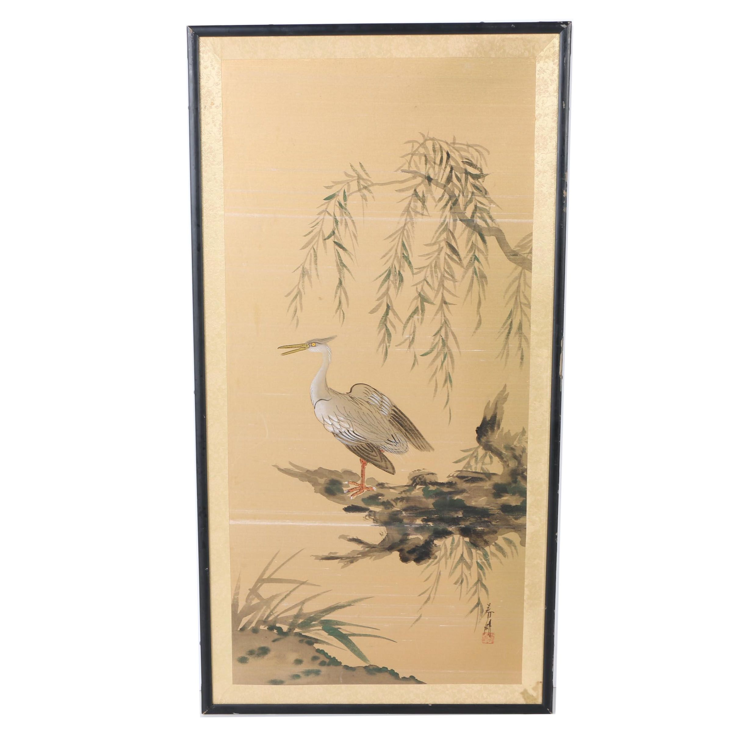 Japanese Watercolor and Gouache Painting on Silk of an Egret