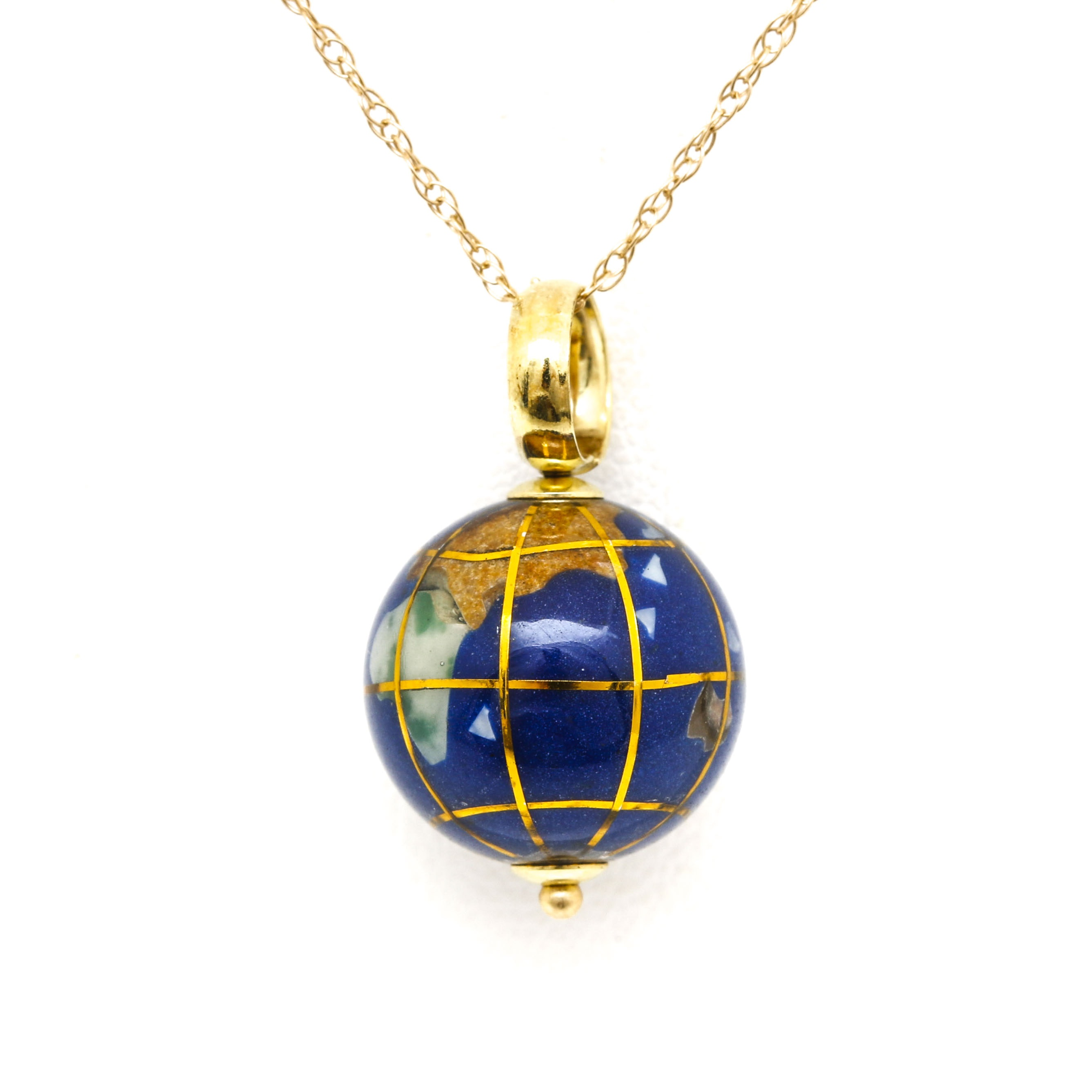 14K and 18K Yellow Gold Gemstone Globe Necklace