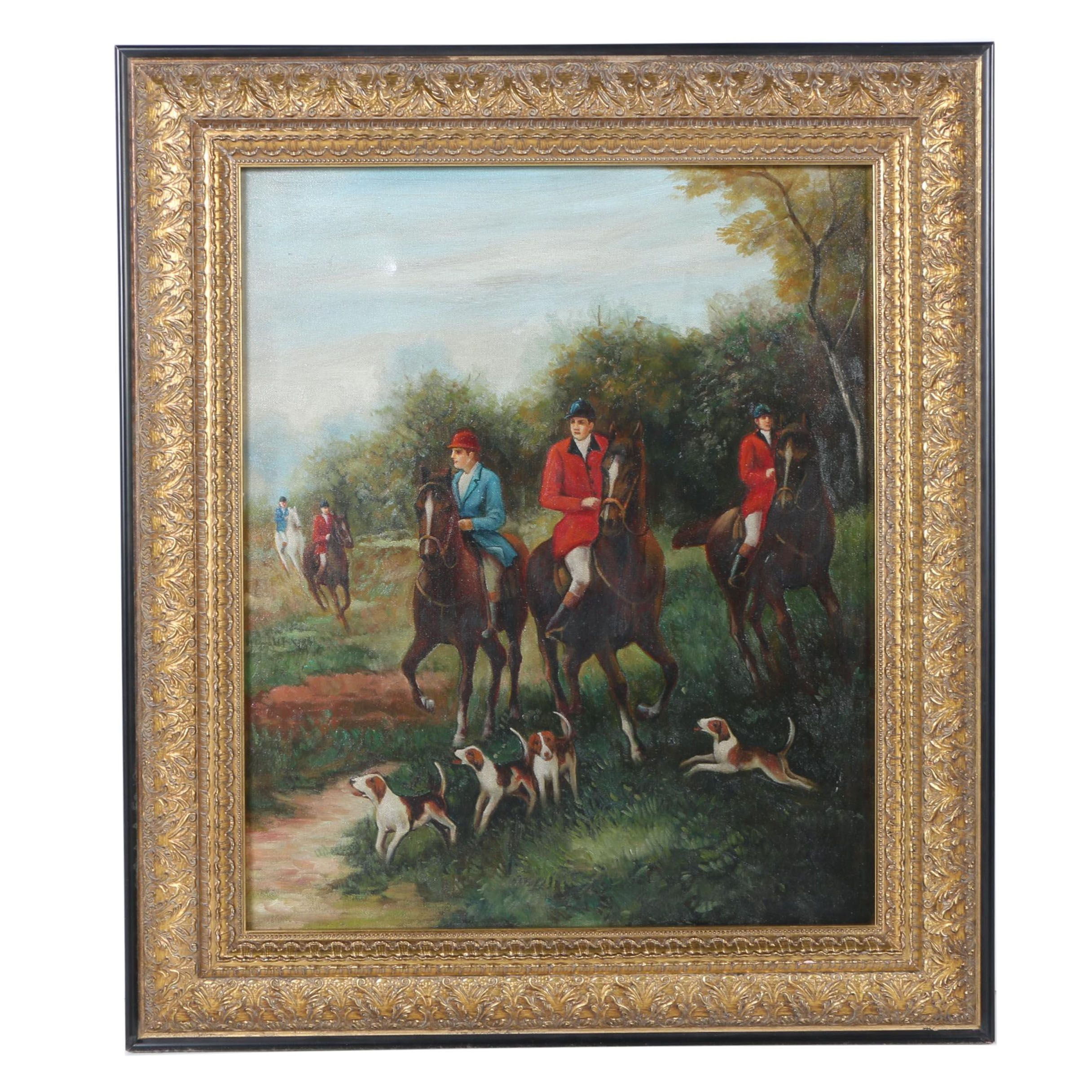 Oil Painting on Canvas Hunting Scene