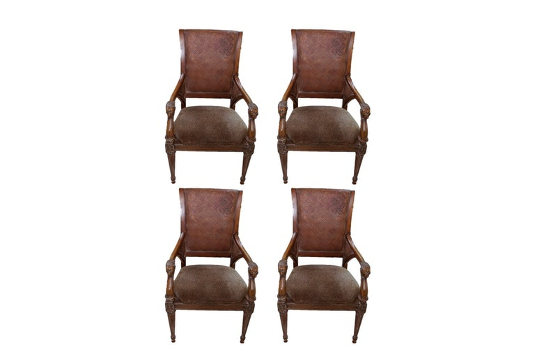 Four Iberville Arm Chairs  in Waxed Cherry by Thomasville