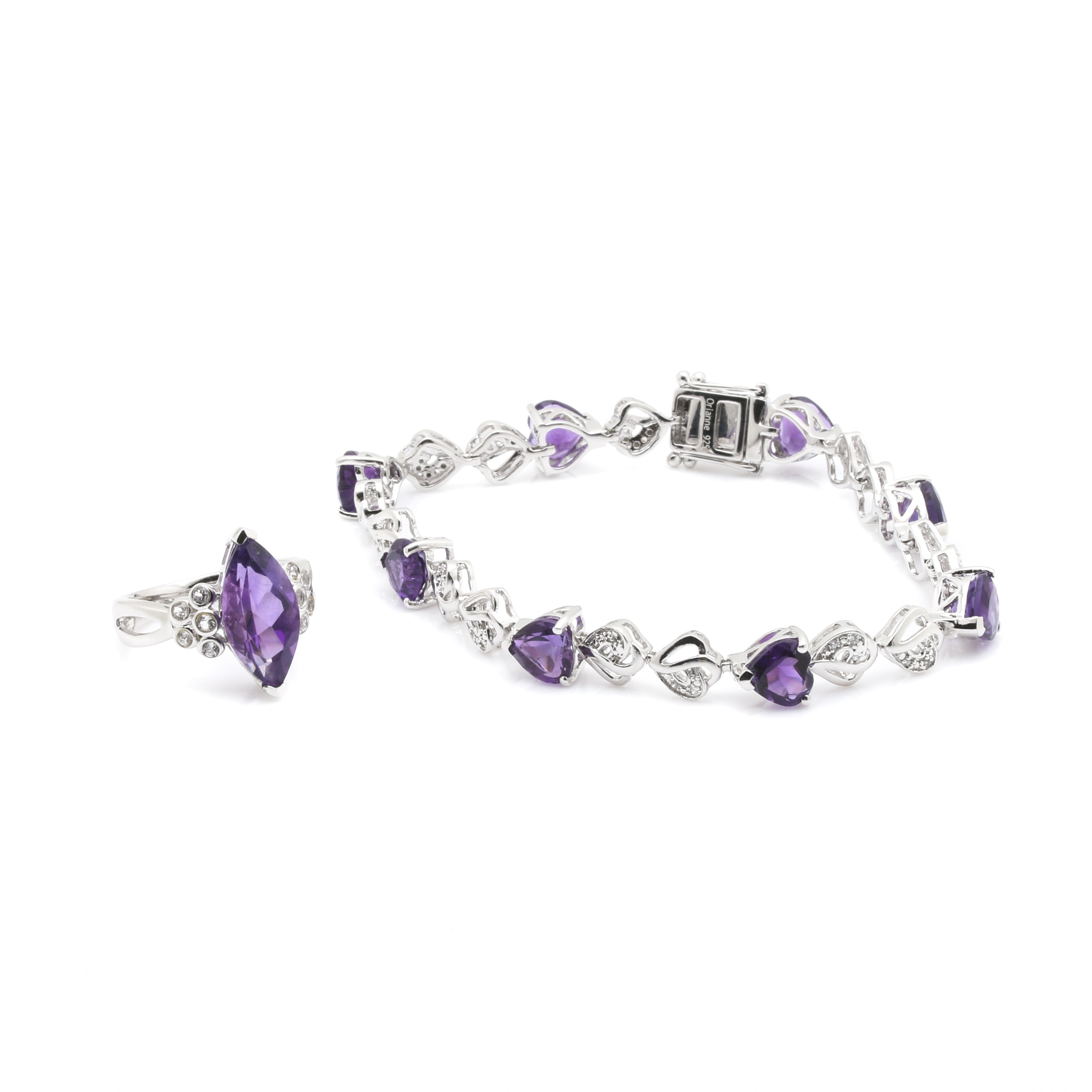 Sterling Silver Amethyst and White Topaz Jewelry
