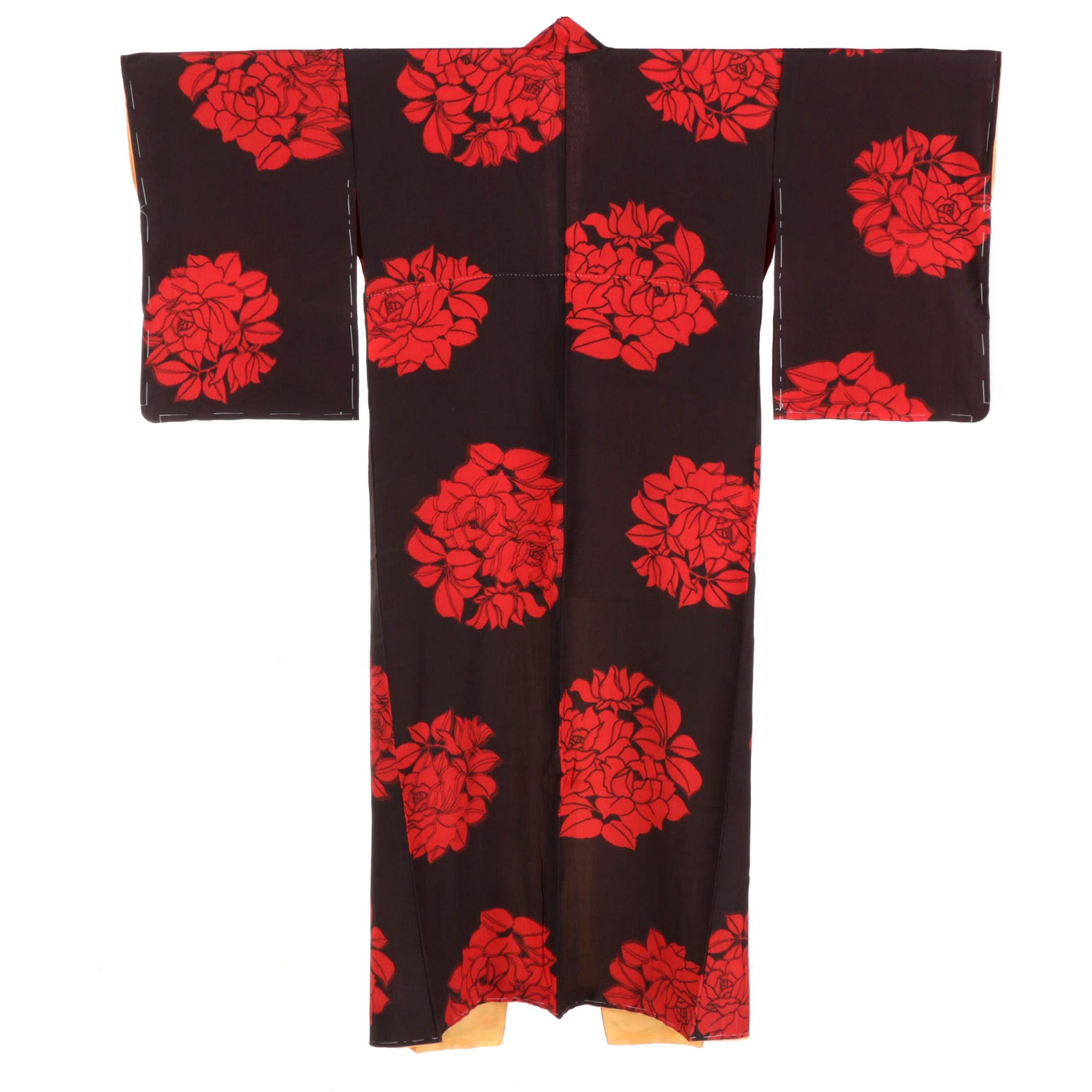 Cicra 1920s Vintage Ikat Silk Crepe Kimono