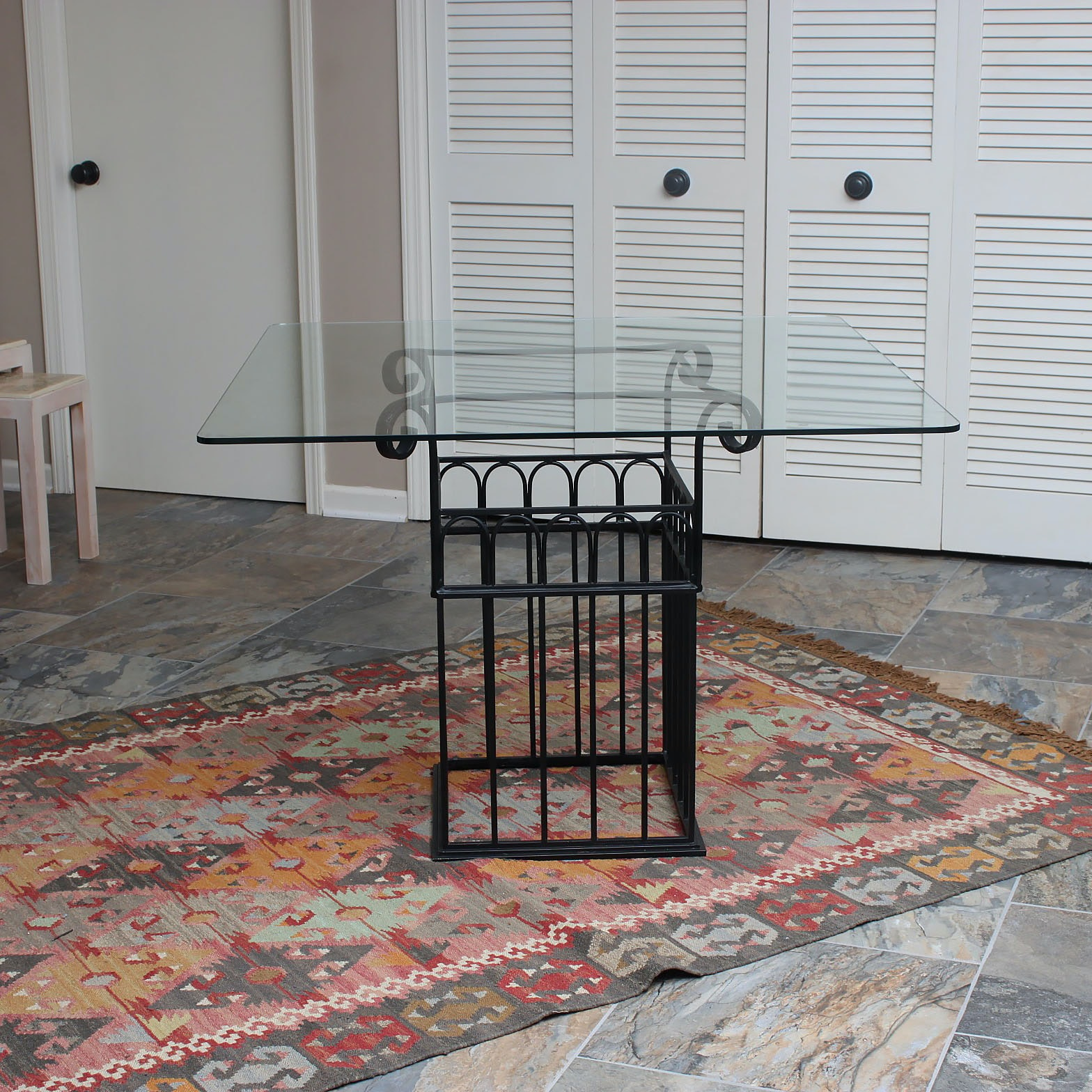Glass Top Accent Table with Metal Base