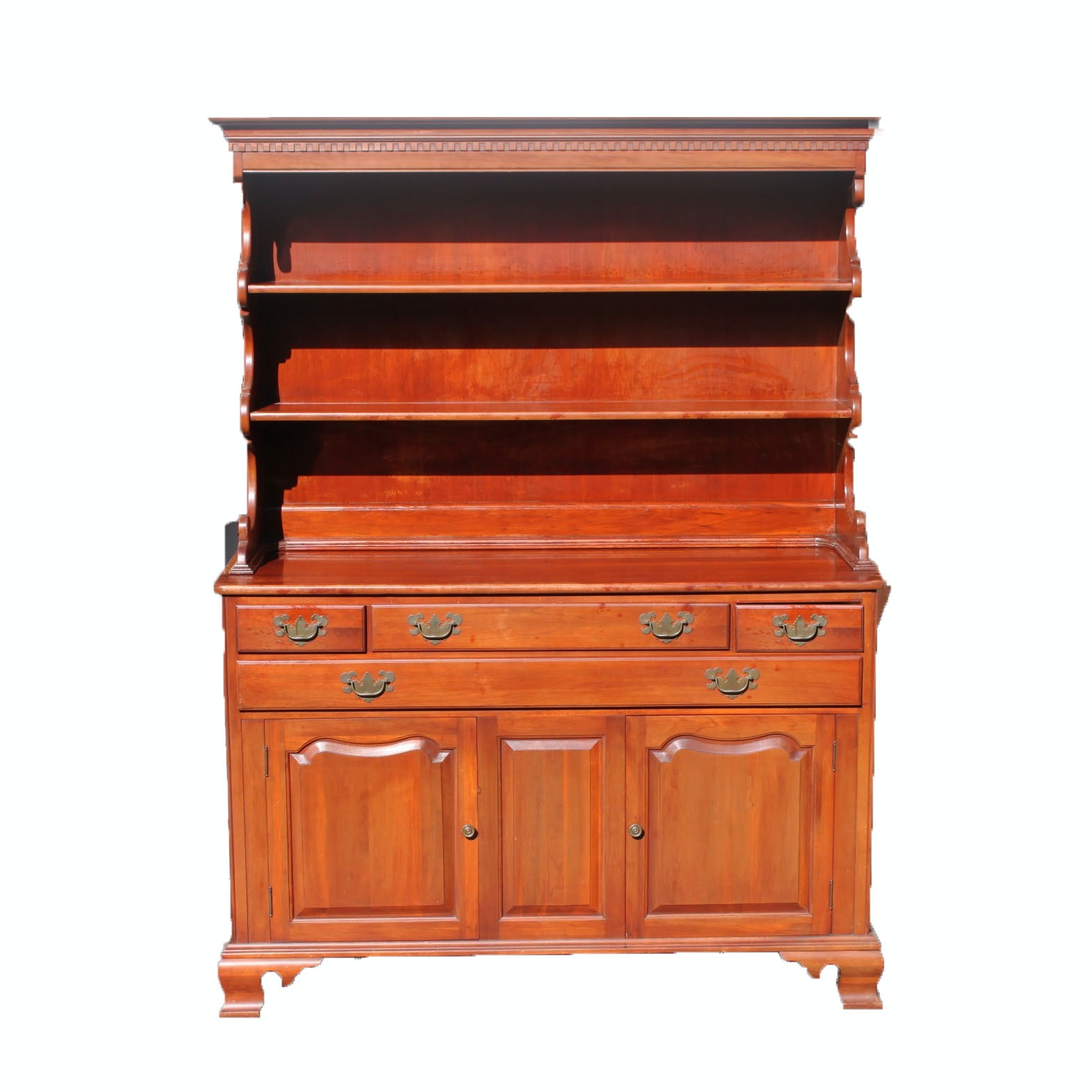 Colonial Style Cherry Hutch-on-Cabinet by Willett