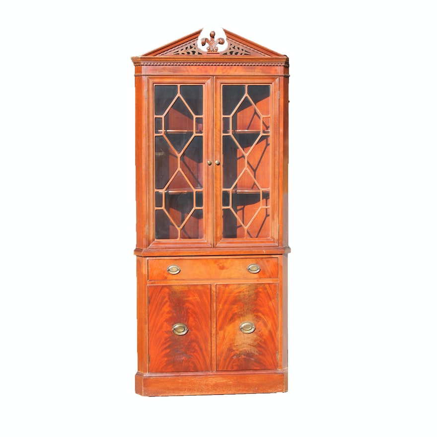Vintage George Iii Style Corner Cabinet By Finch Furniture Co