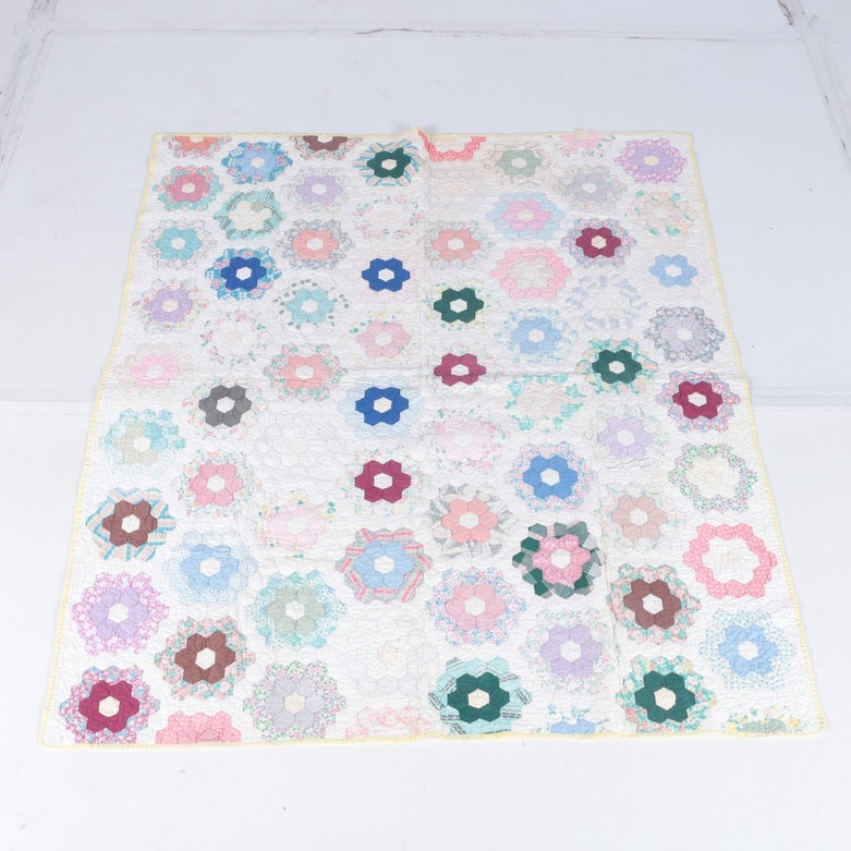 "Vintage Hand Made ""Grandmother's Flower Garden"" Quilt"