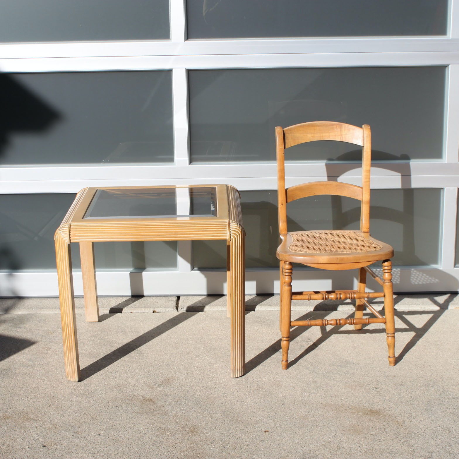 Victorian Caned Side Chair With Contemporary End Table