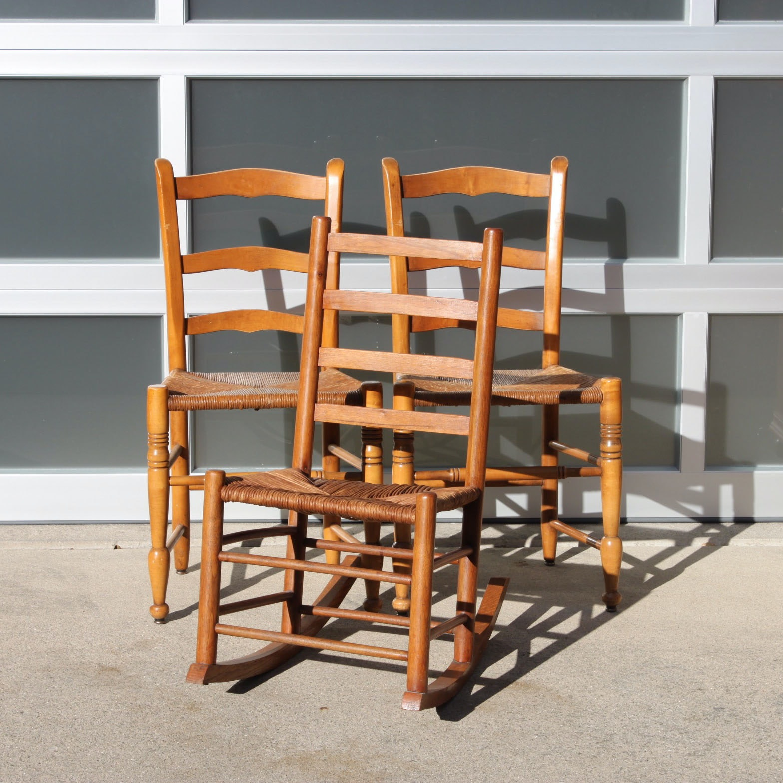 Pair of Ladderback Side Chairs and Rocking Chair