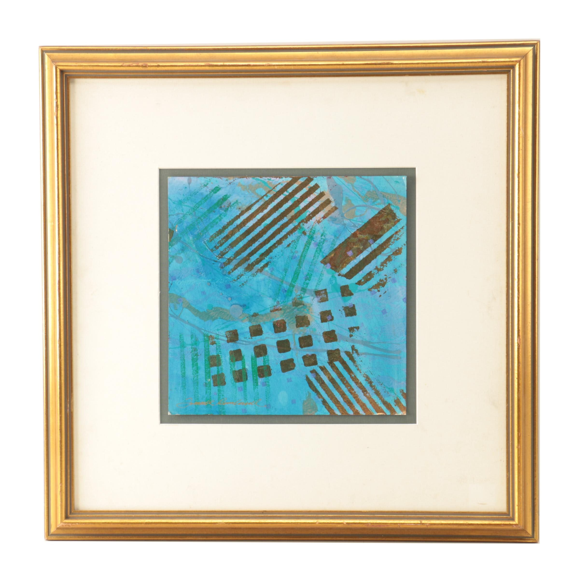 Frank Rowland Acrylic Painting on Board of Abstract Composition