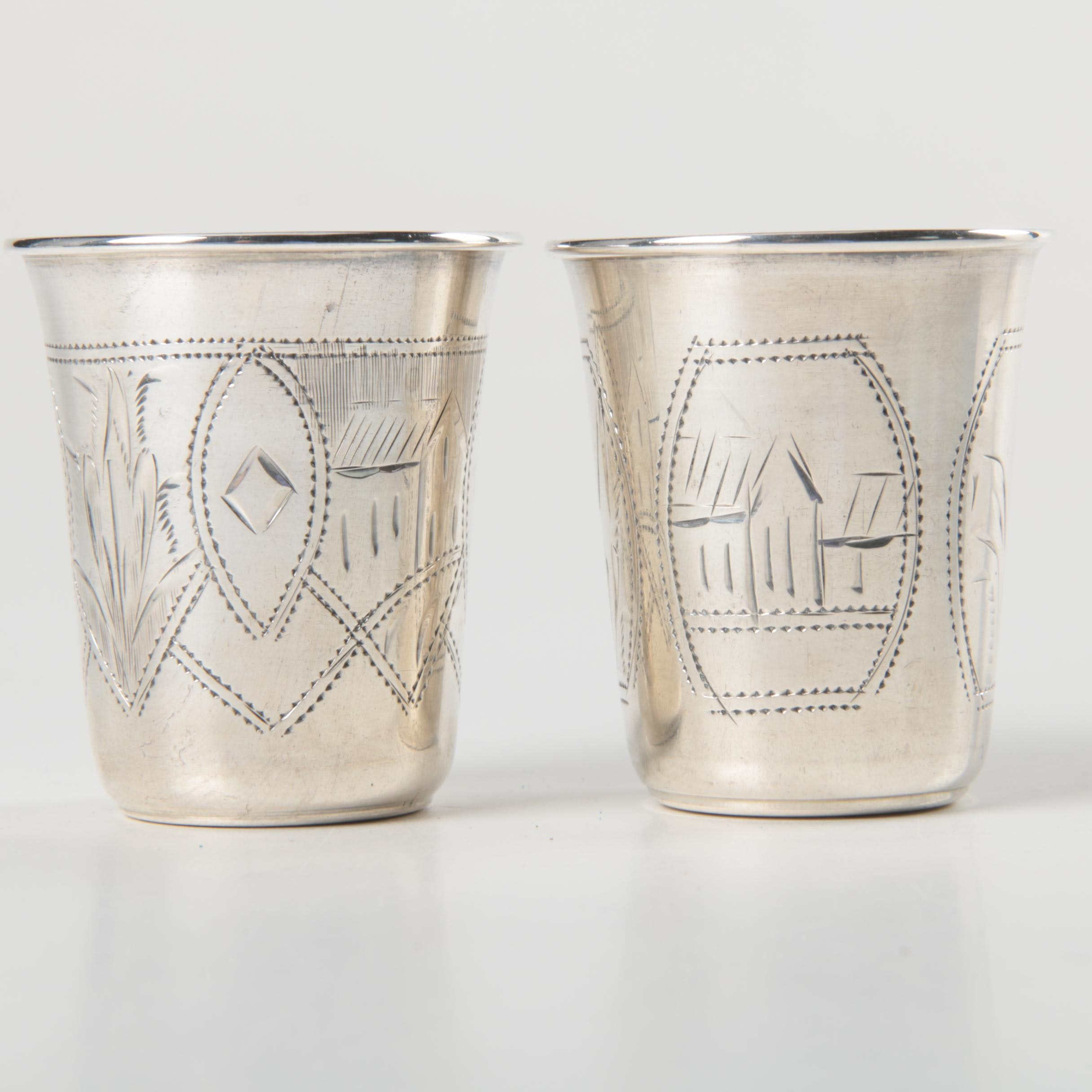 Etched 800 Russian Silver Vodka Cups