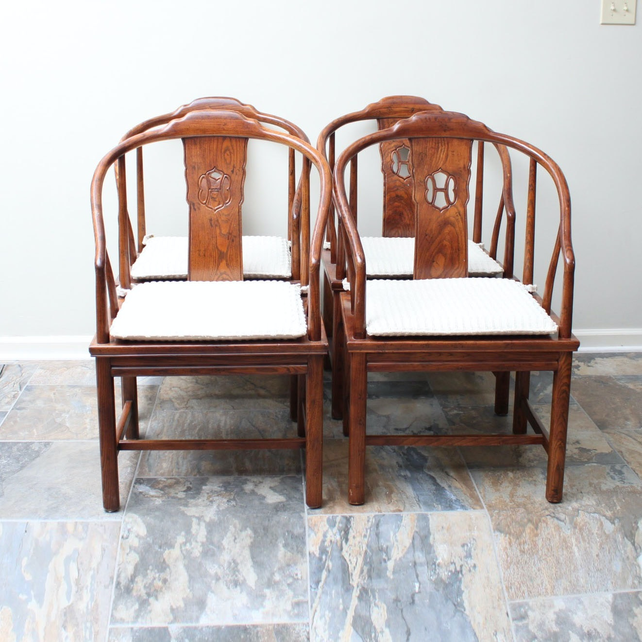 Chinese Horseshoe Style Elm Chairs by Henredon