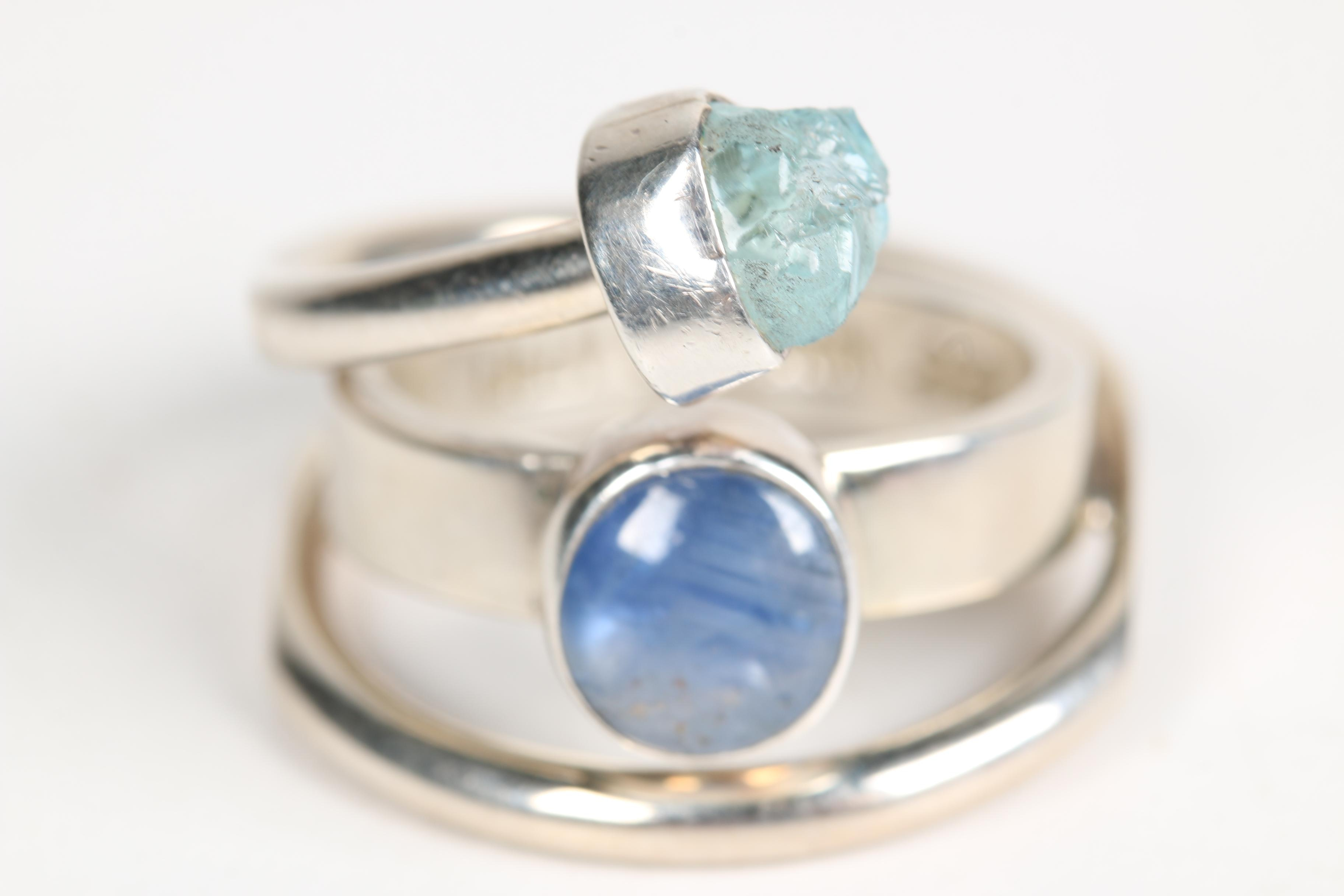 Lilly Barrack Sterling Silver Sapphire and Aquamarine Ring