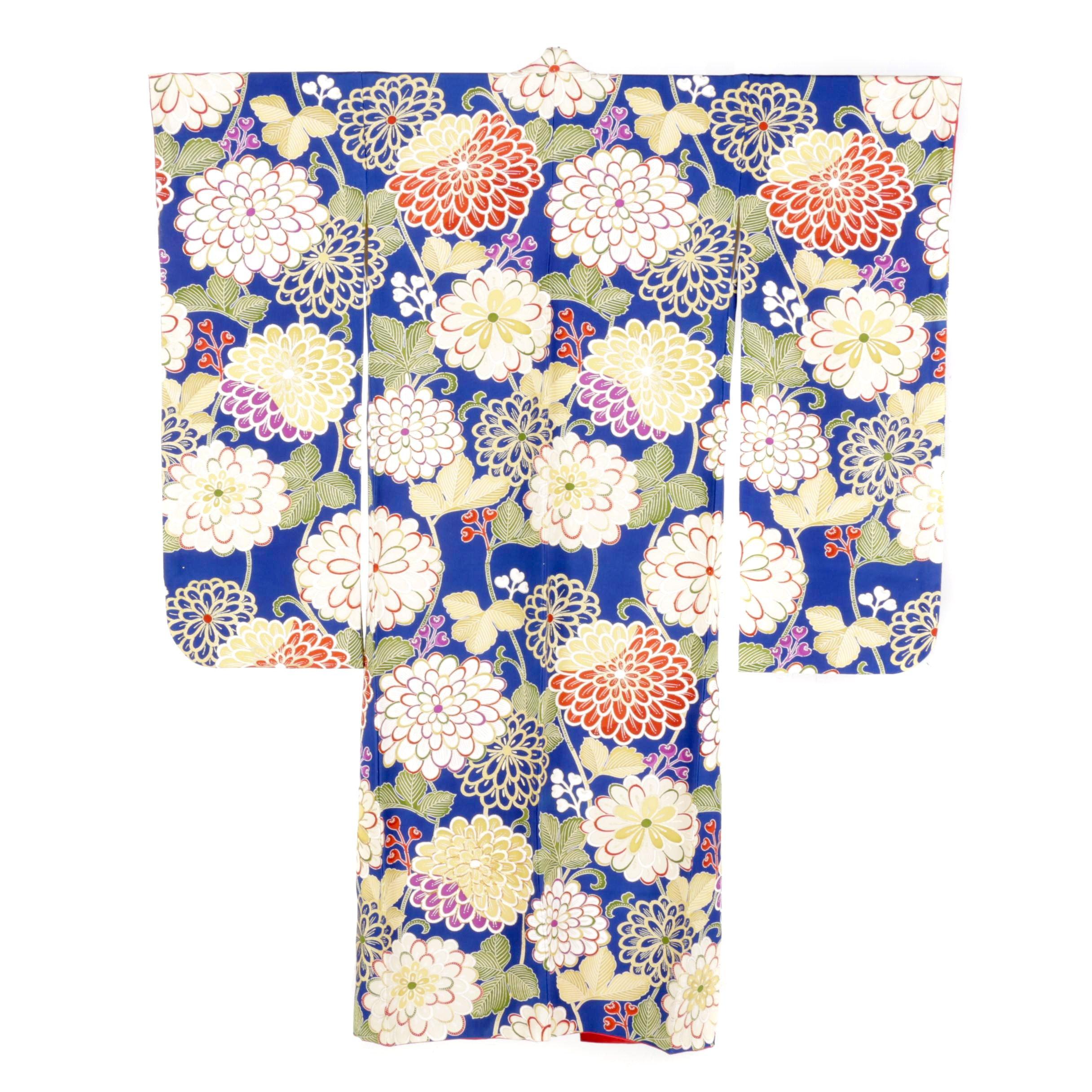 Circa 1940s Vintage Hand Sewn Furisode Kimono