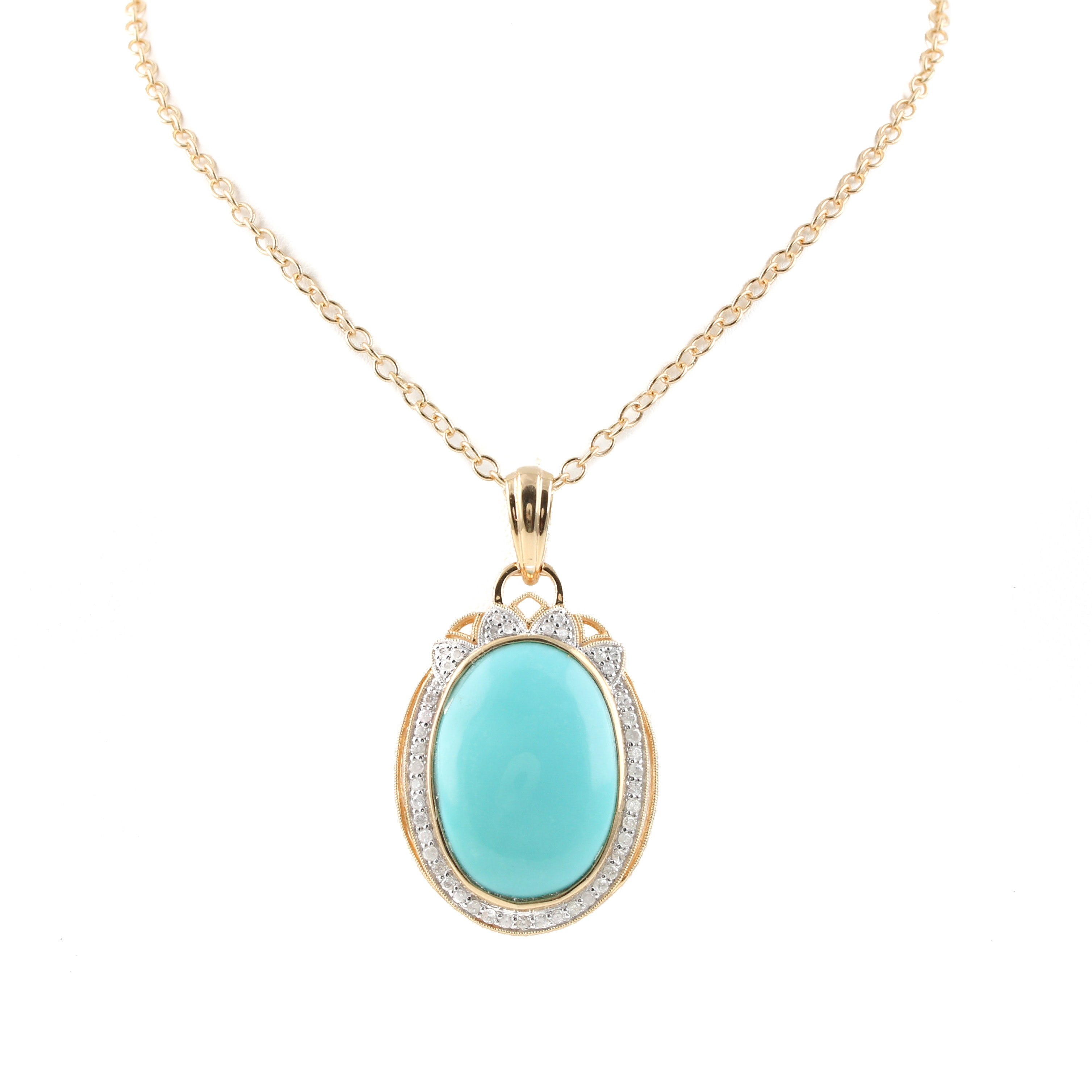 Orianne Gold Wash on Sterling Silver Turquoise and Diamond Necklace