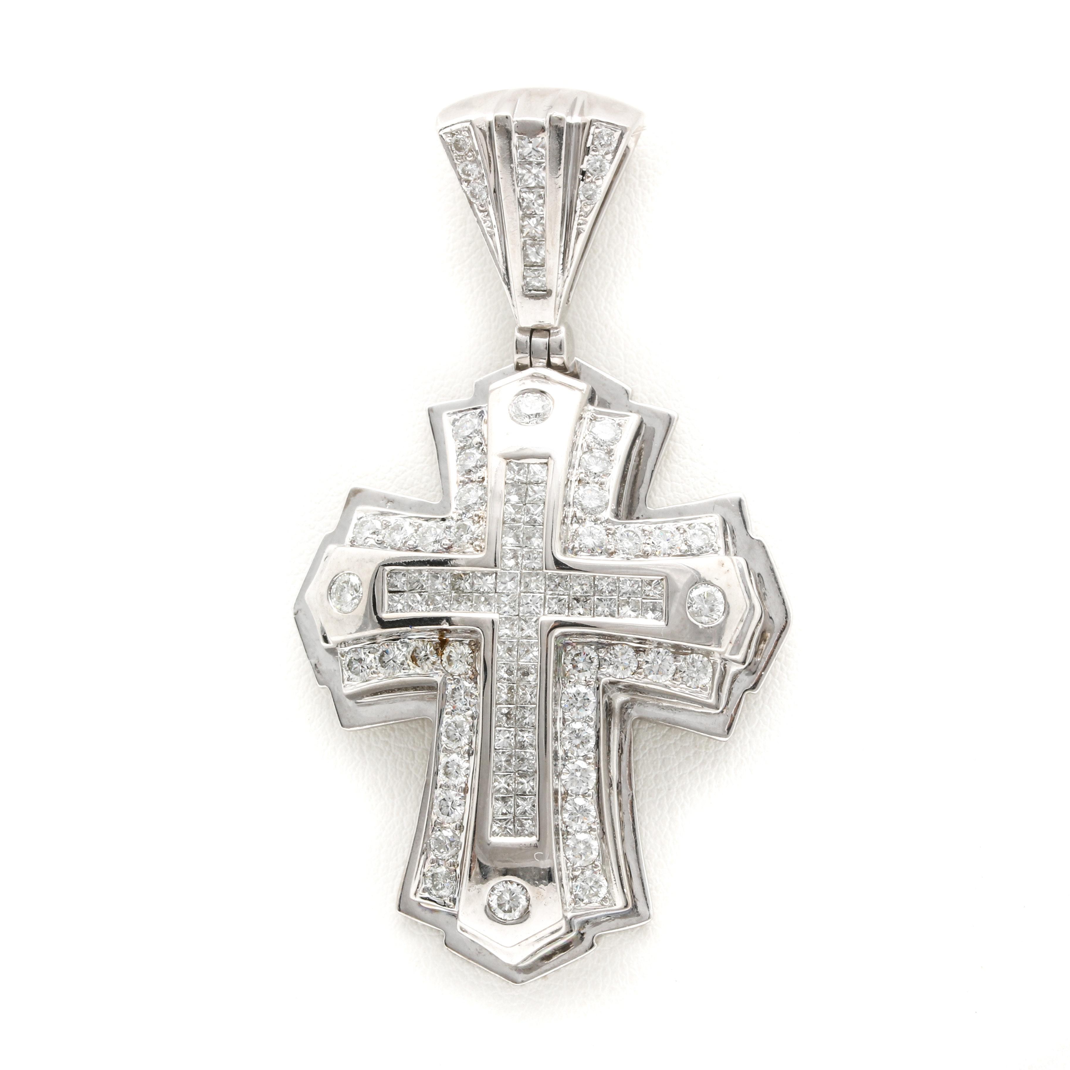 14K White Gold 3.67 CTW Diamond Cross Pendant