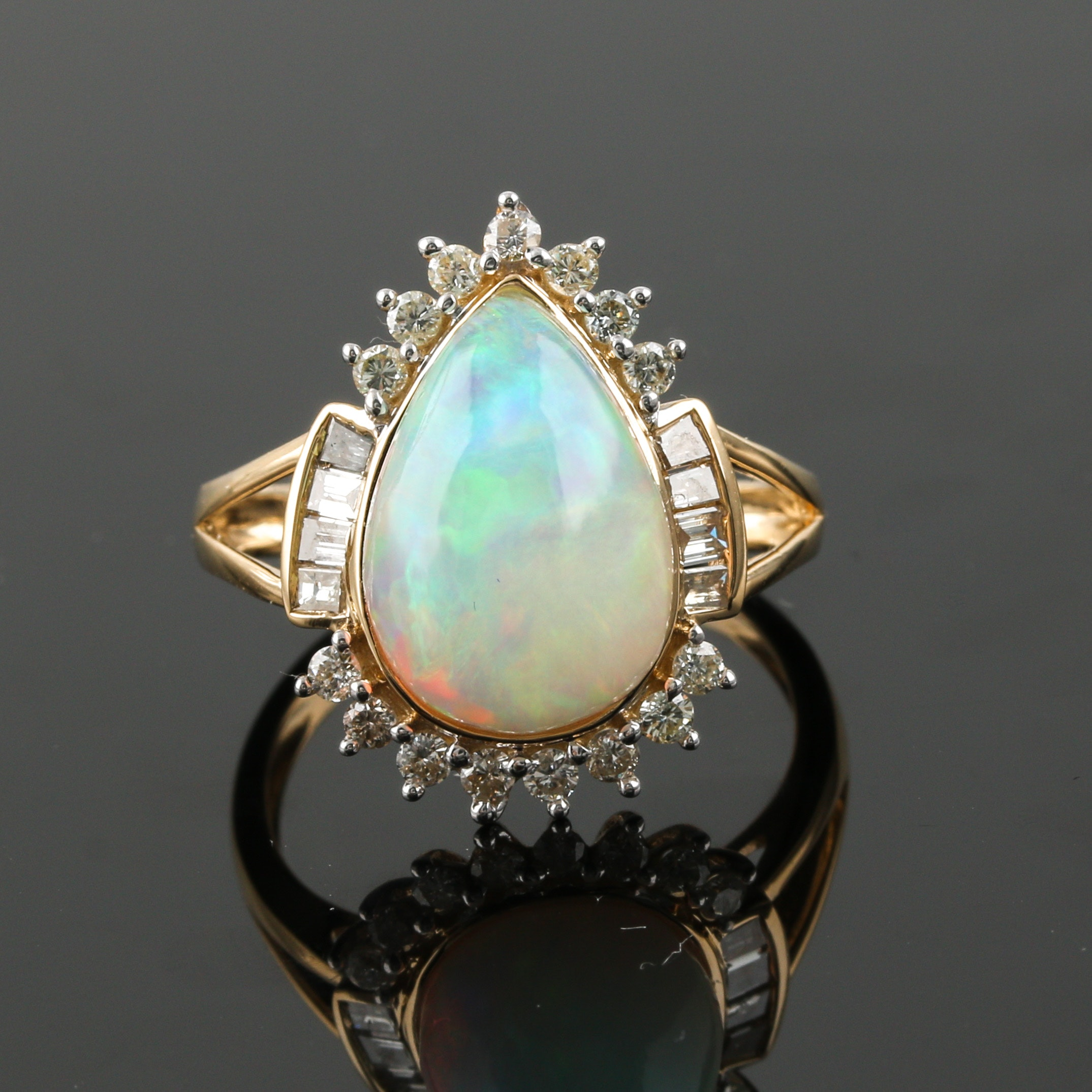 Orianne 14K Yellow Gold Opal and Diamond Ring