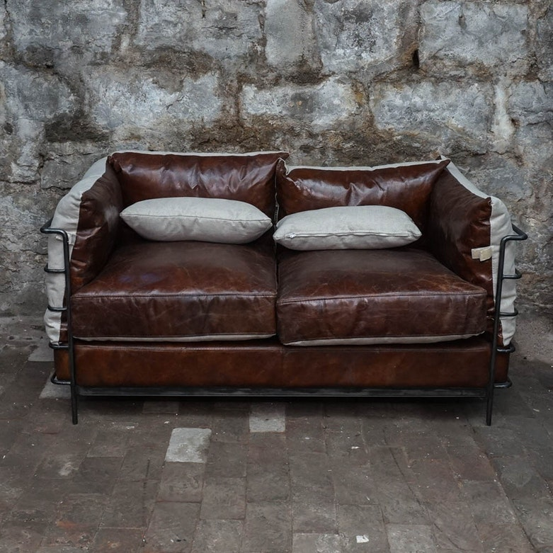 Full Grain Leather Contemporary Style Loveseat
