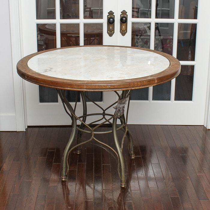 Round Dining Table With Stone Inset Top and Metal Base