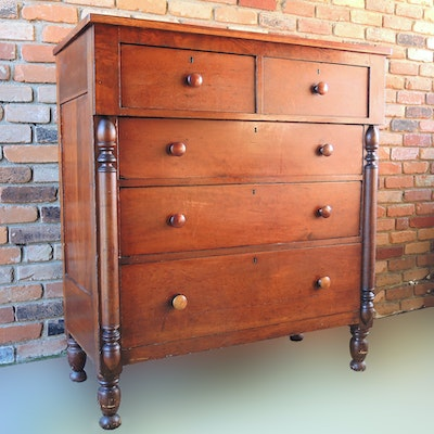 Antique Cherry Chest of Drawers - Online Furniture Auctions Vintage Furniture Auction Antique