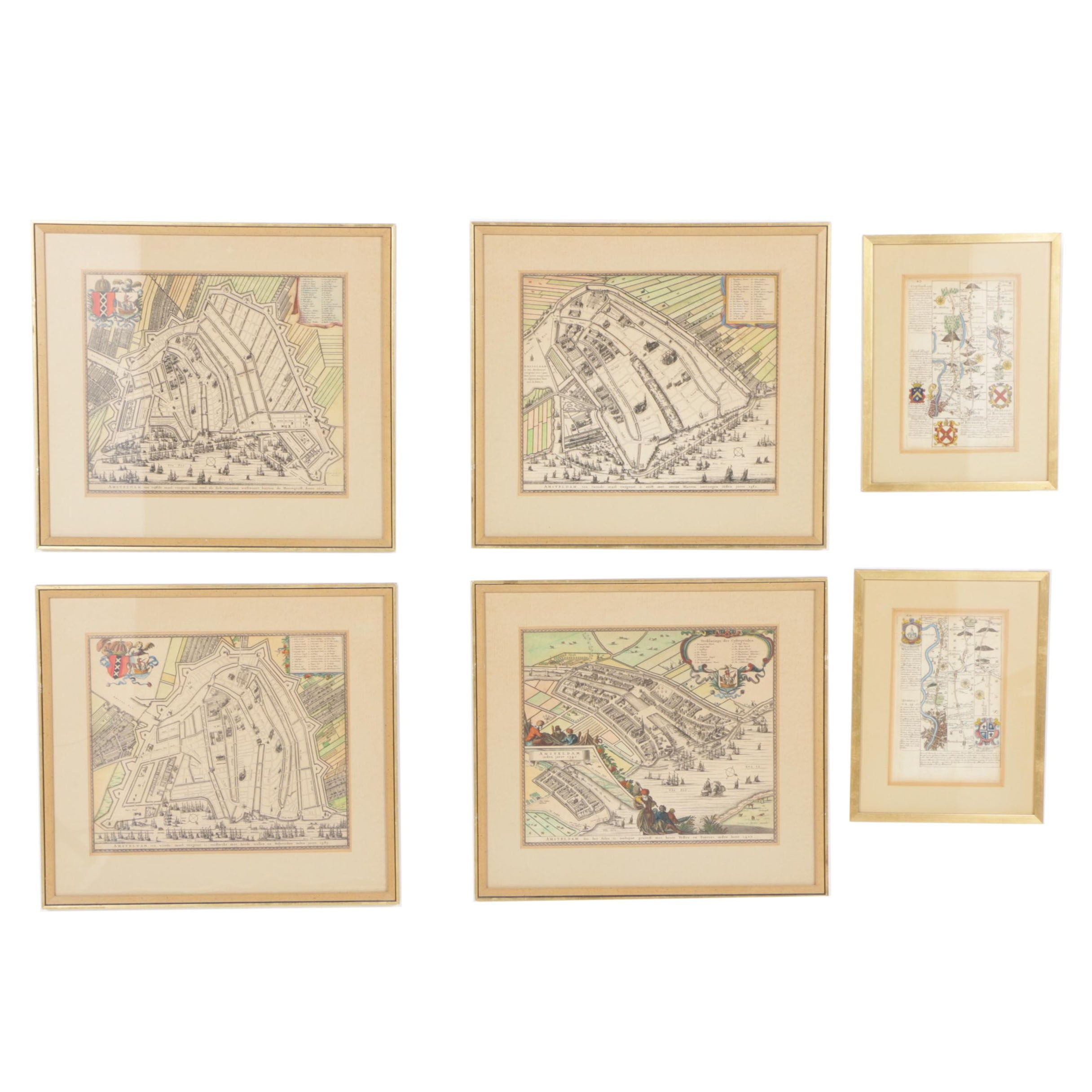 Collection of Hand-Colored Intaglio Prints of Maps