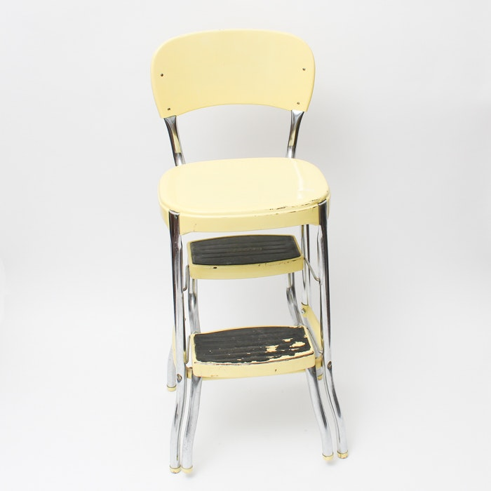 Vintage Metal Step Stool High Chair By Cosco Ebth