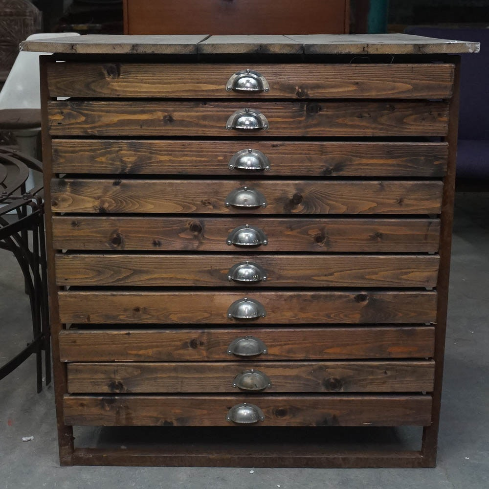 Pine and Oak Typesetters Cabinet