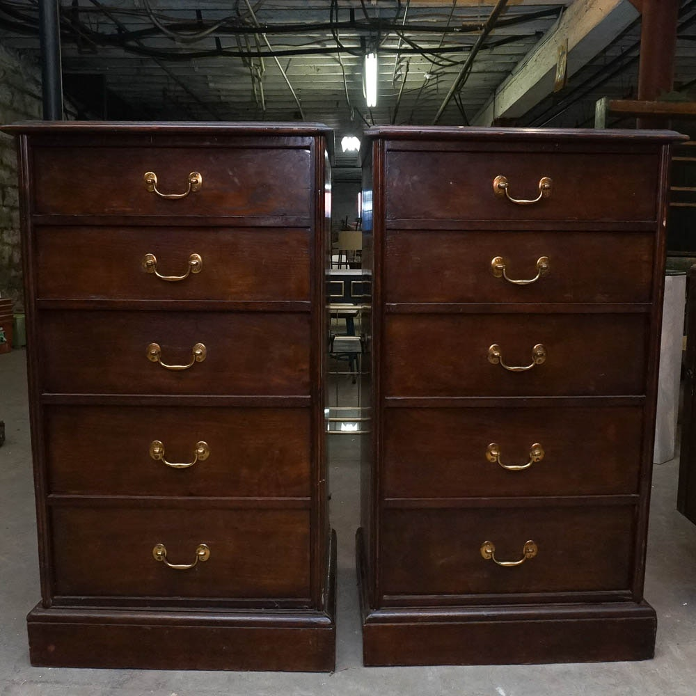 Leather Topped Chest of Drawers Pair