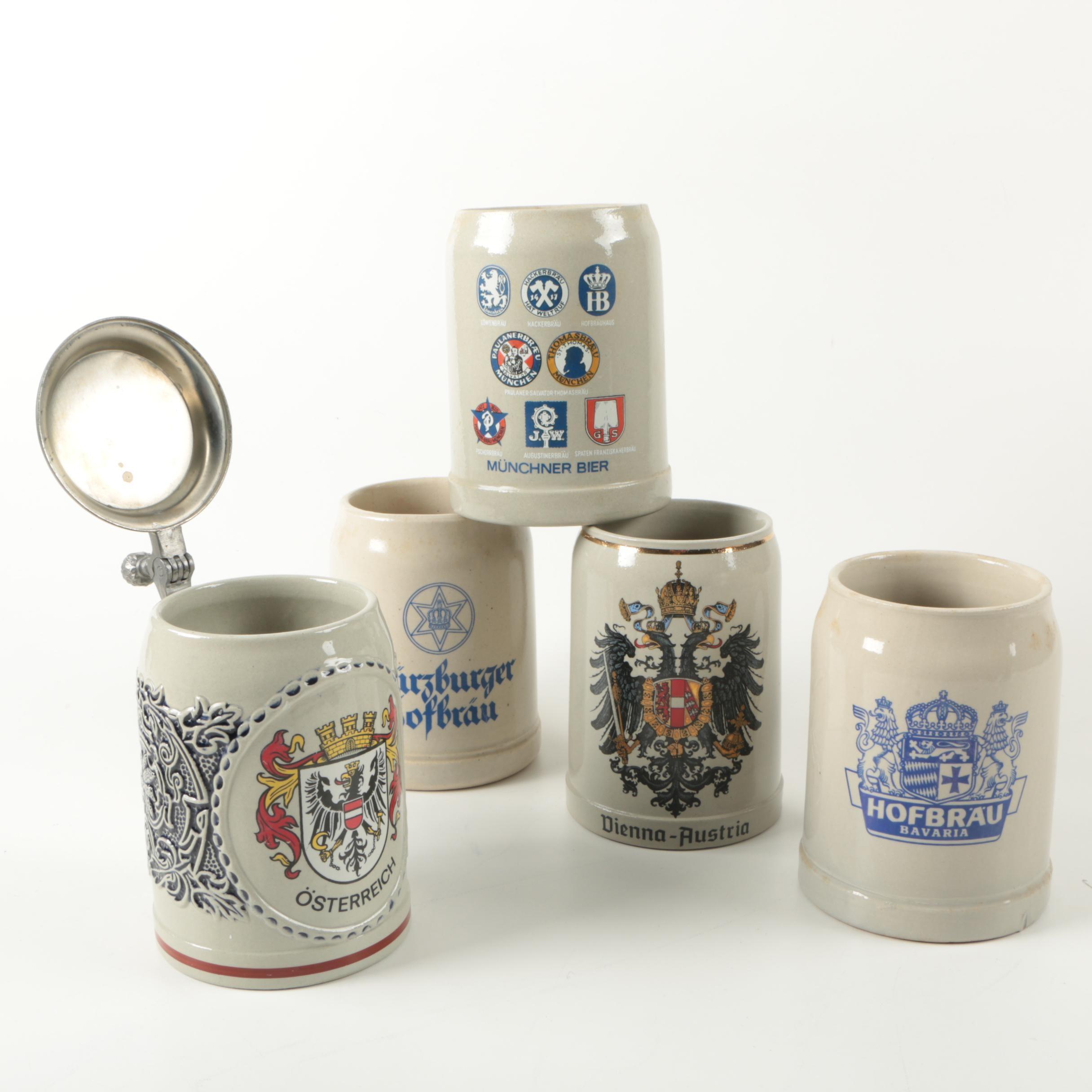 European Ceramic Beer Stein and Mugs