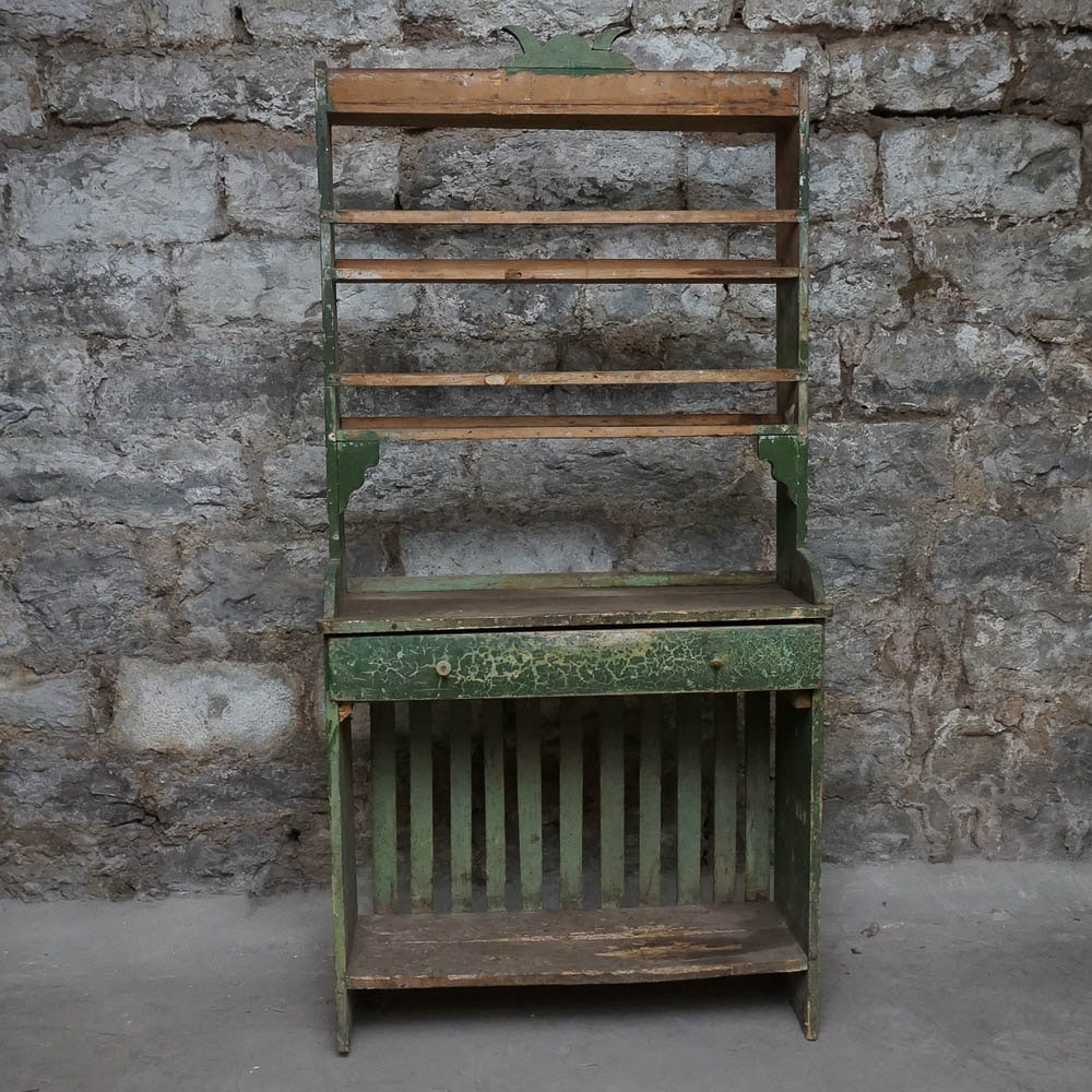 Rustic Green Painted Open Hutch