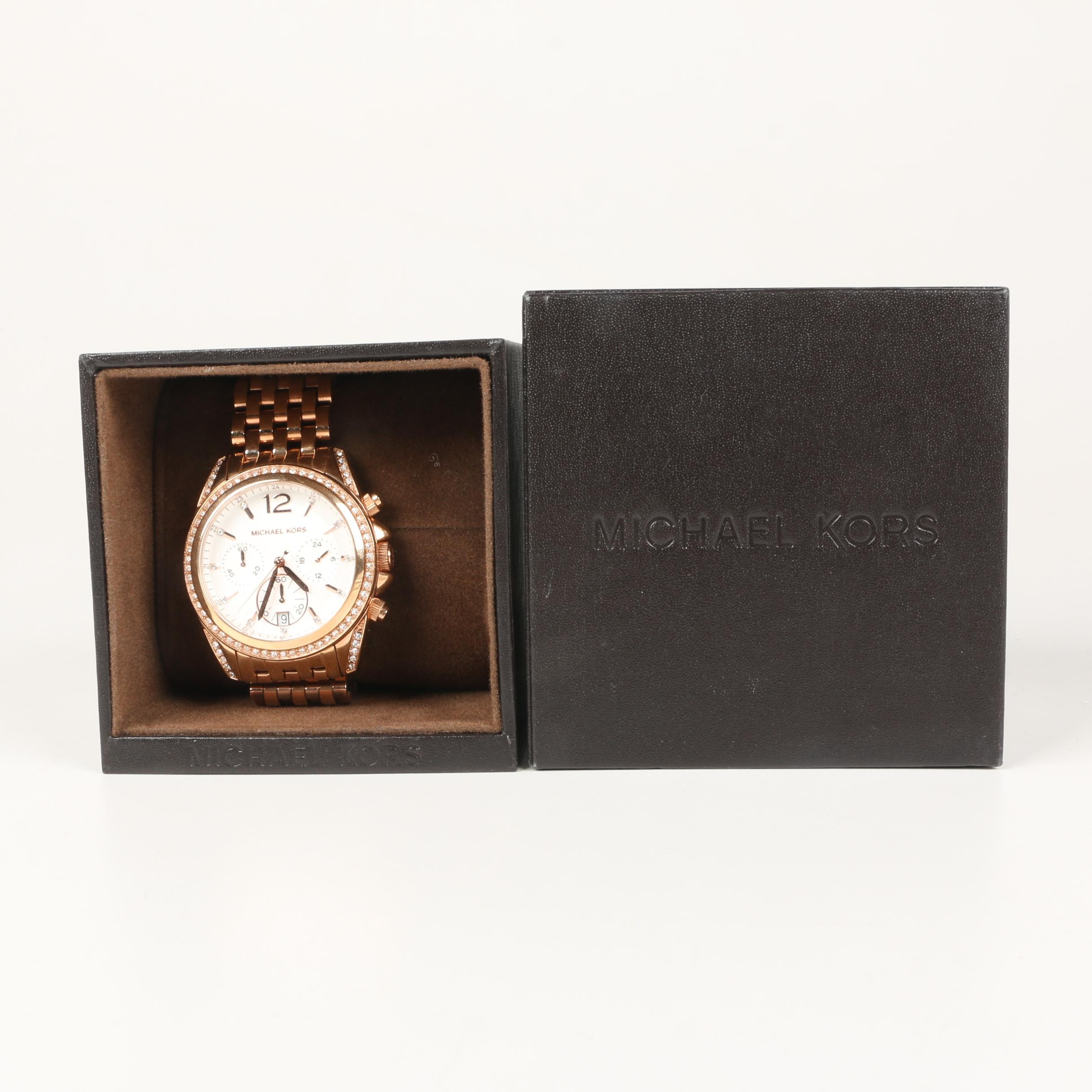 Michael Kors Rose Gold Tone Stainless Steel Wristwatch