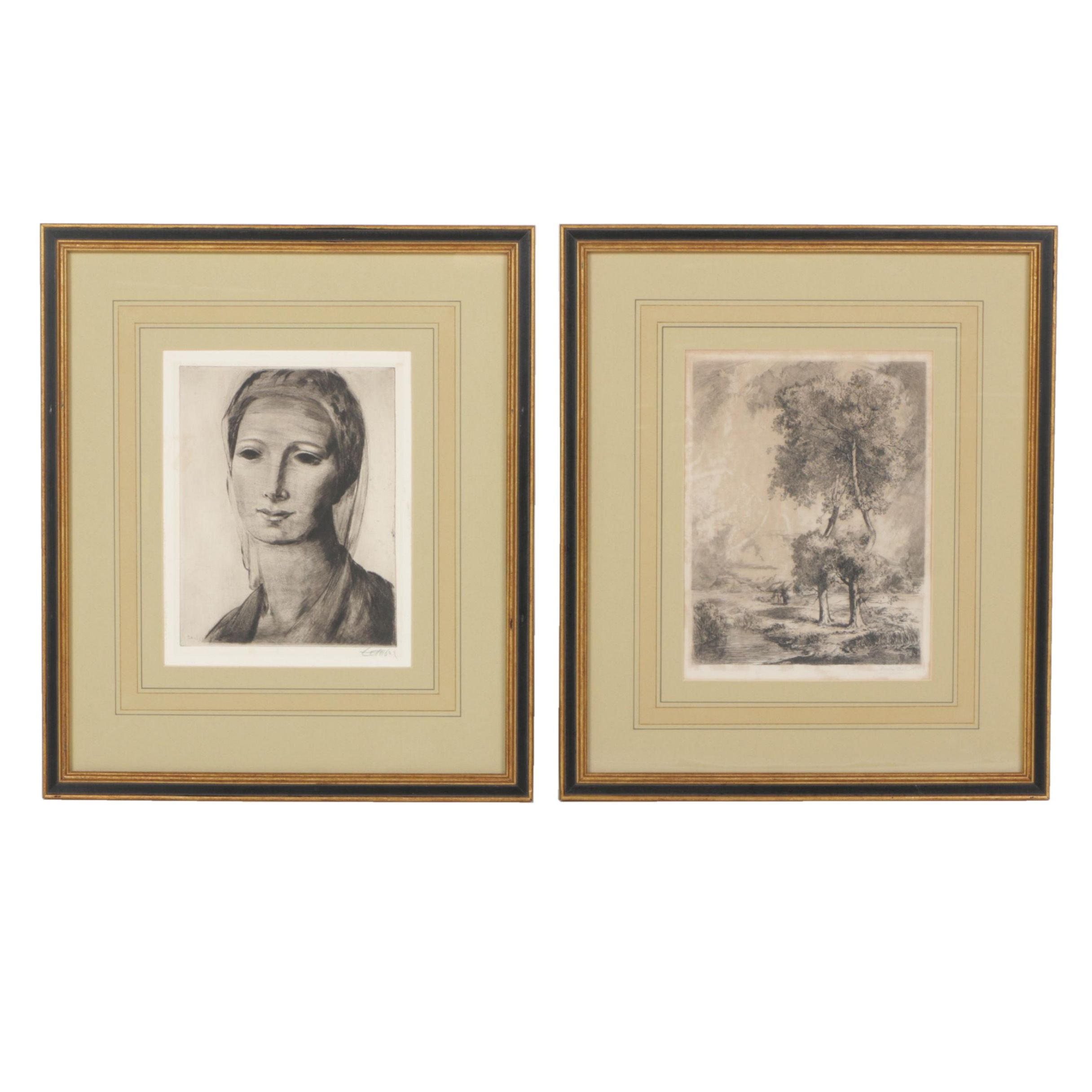 Louis Orr and Frederic Taubes Etchings on Paper