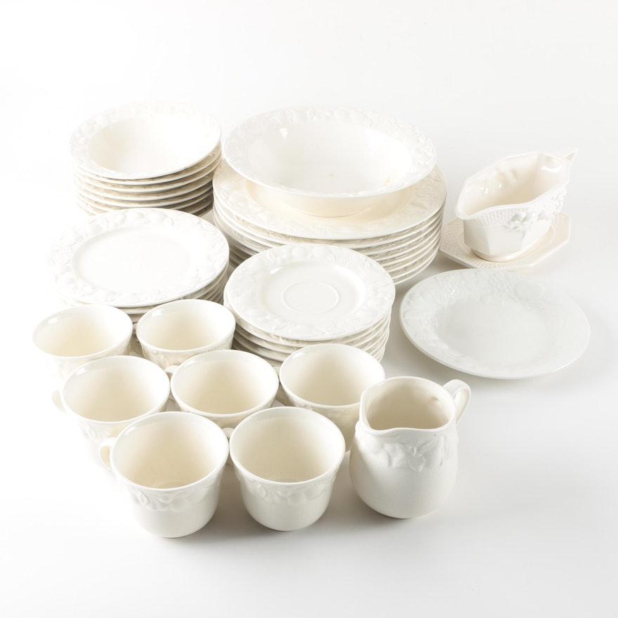 White Embossed Stoneware Tableware Featuring Ranmaru : EBTH