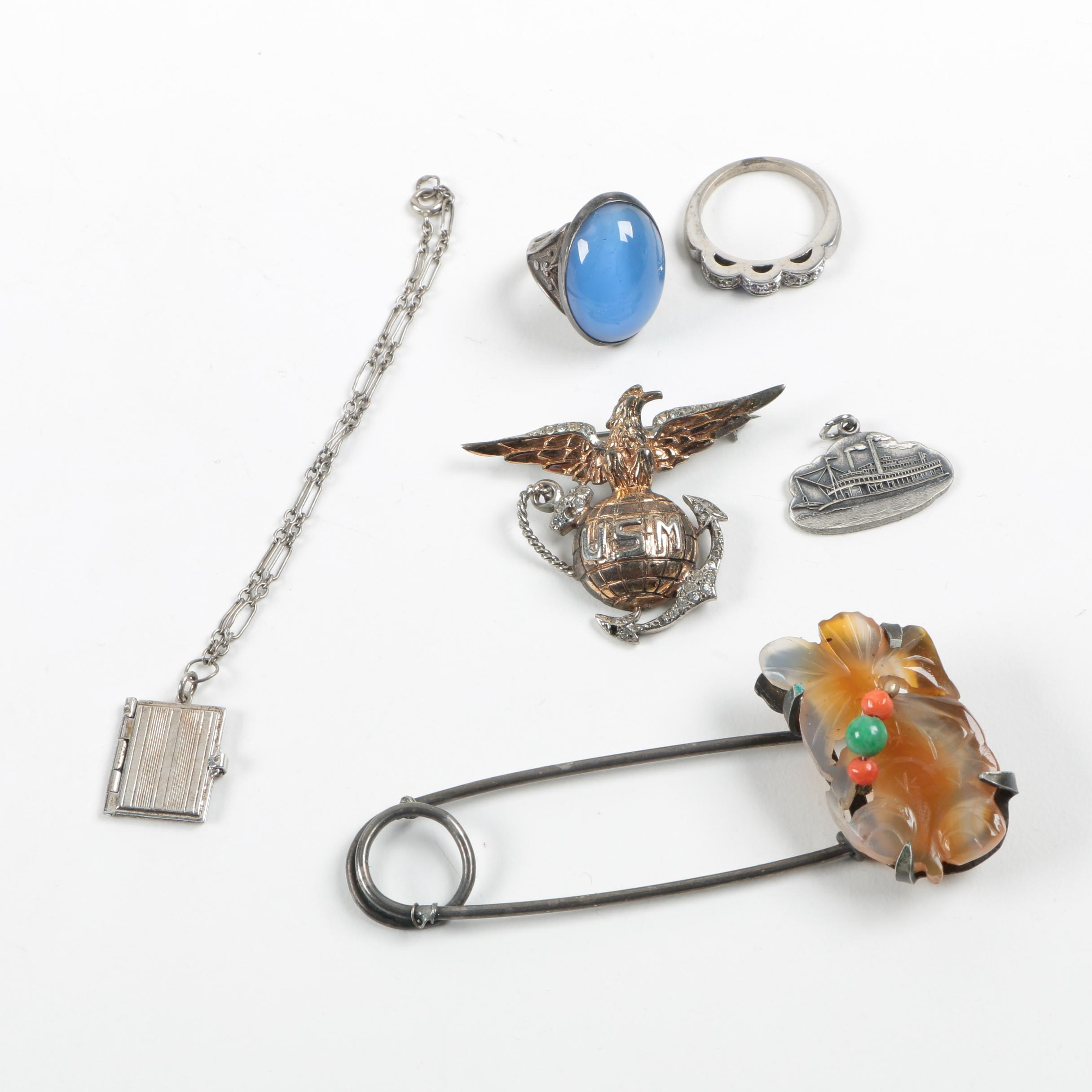 costume jewelry assortment featuring vintage sterling