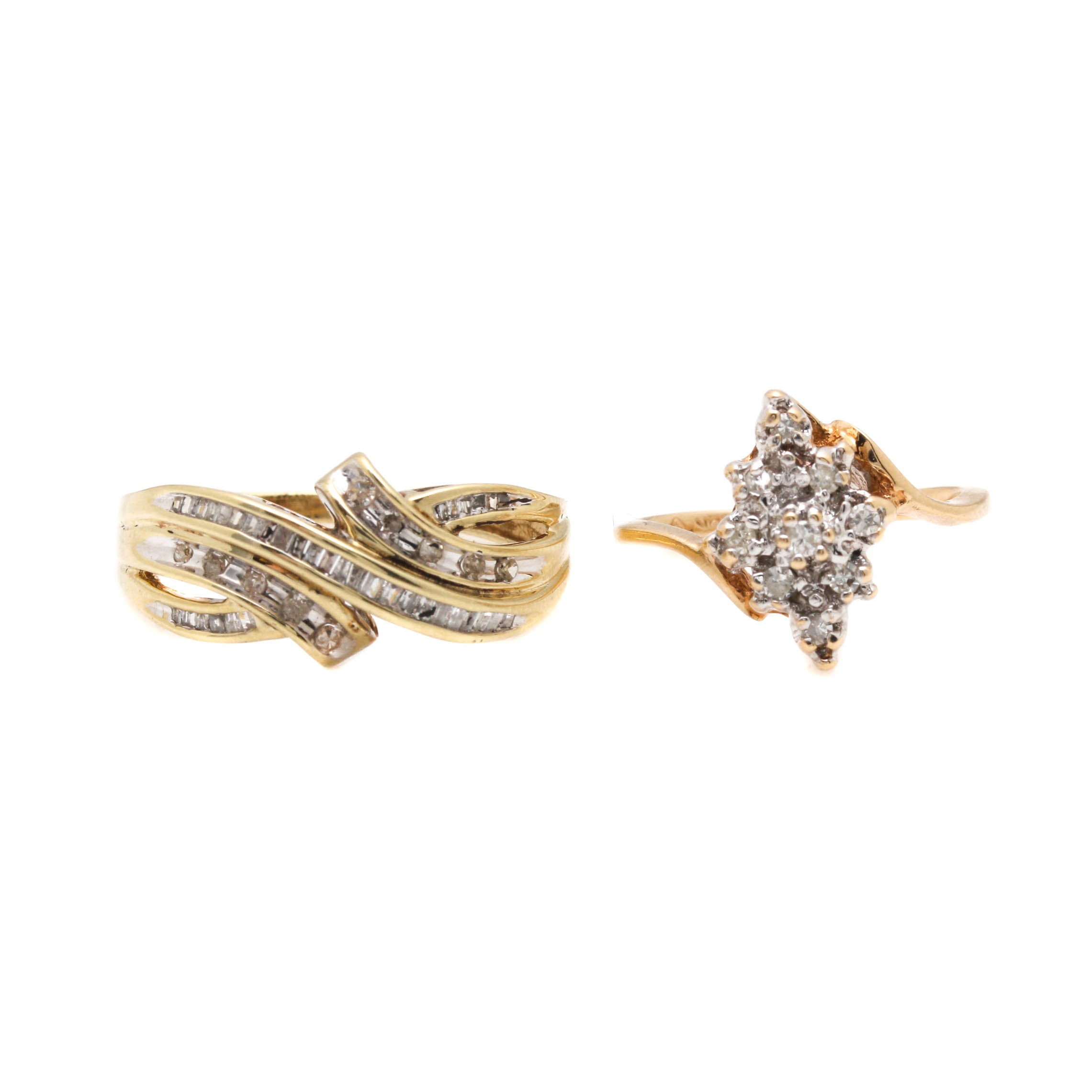 Selection of 10K Yellow Gold Diamond Rings