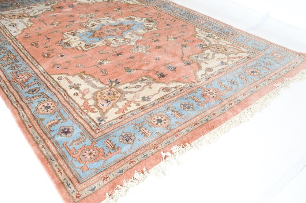 Hand-Knotted Indo-Persian Heriz Serapi Room Size Rug