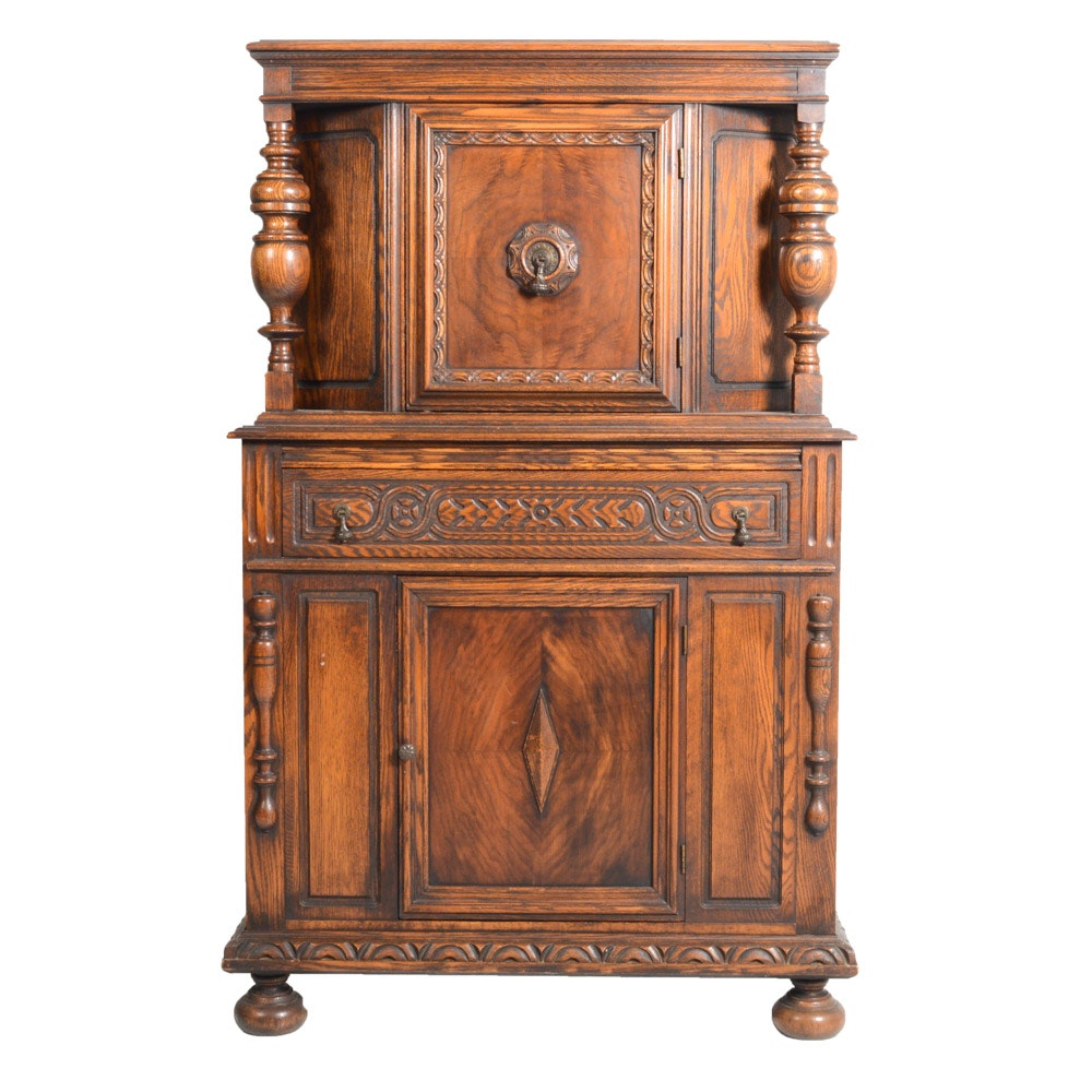 Vintage Jacobean Revival Carved Oak Cabinet by Bernhardt Furniture Co.