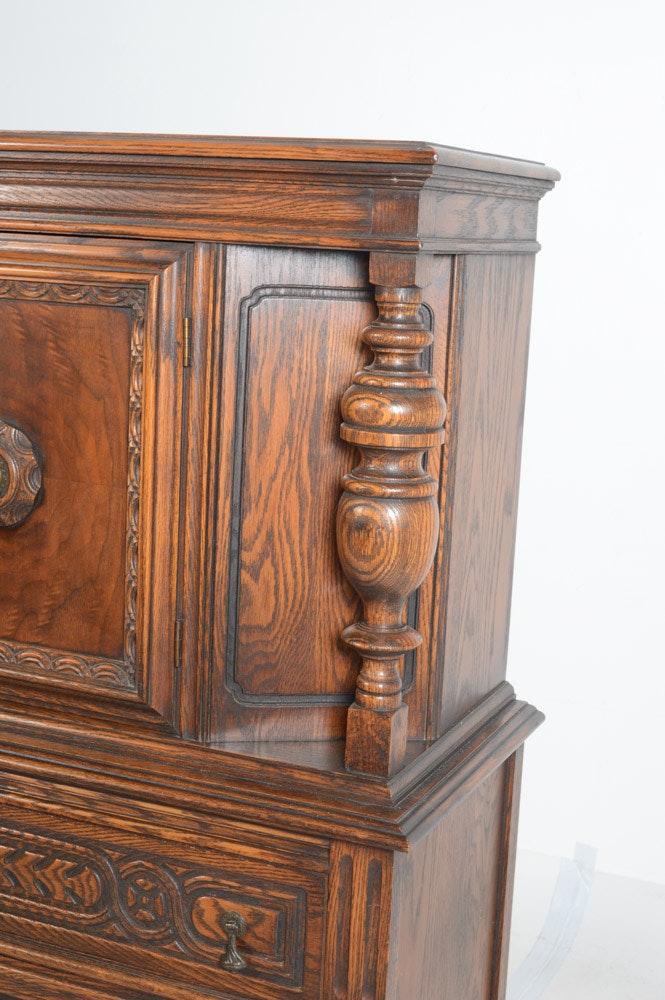 Vintage Jacobean Revival Carved Oak Cabinet By Bernhardt