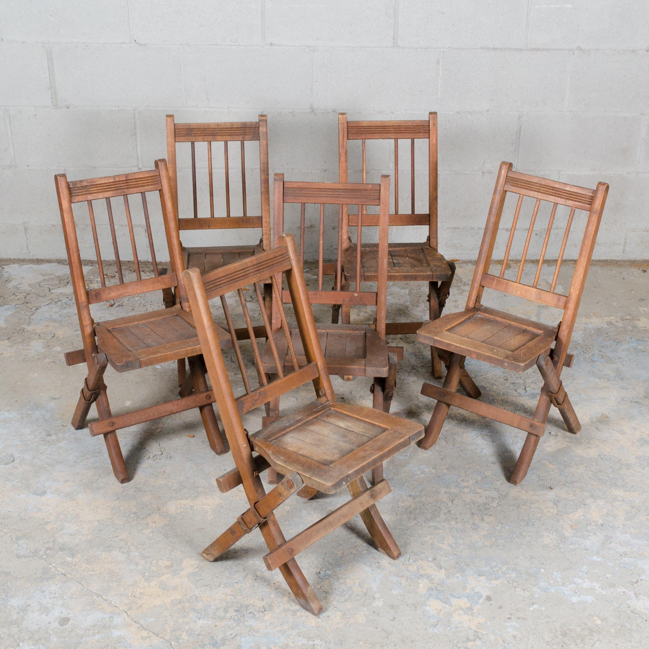 Vintage Child Sized Wood Folding Chairs ...