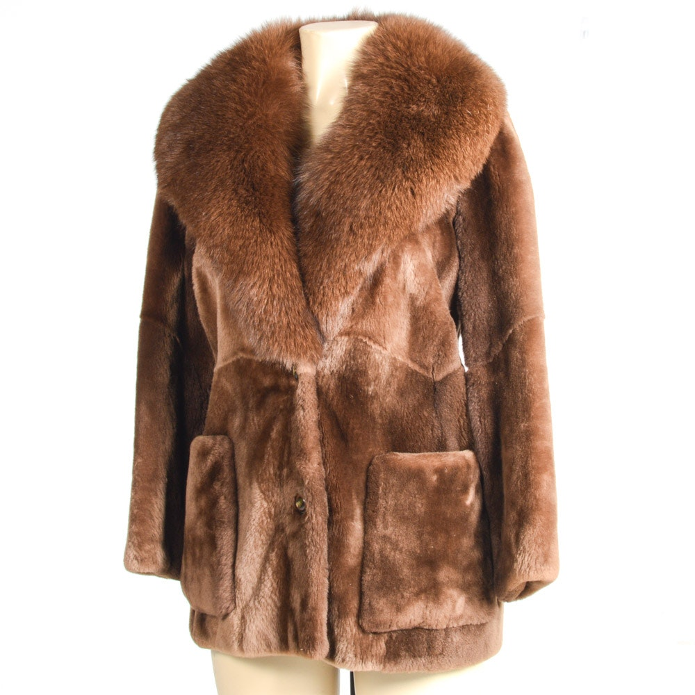 Sheared Beaver Coat with Fox Collar