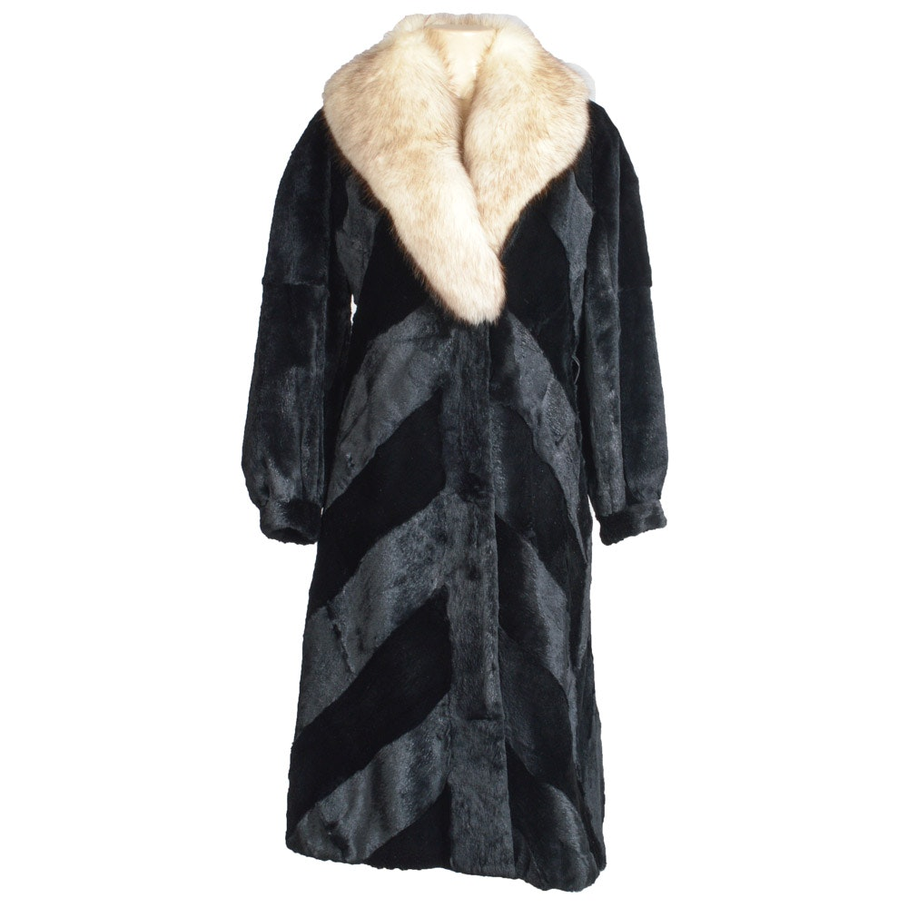 Sheared Beaver and Blue Fox Fur Coat