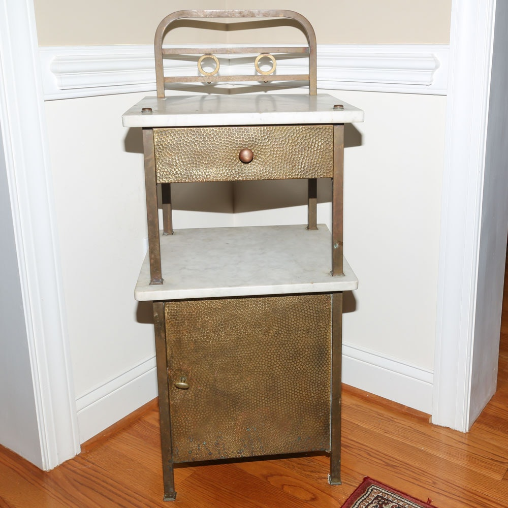 Vintage Hammered Brass and Marble Dentist Cabinet