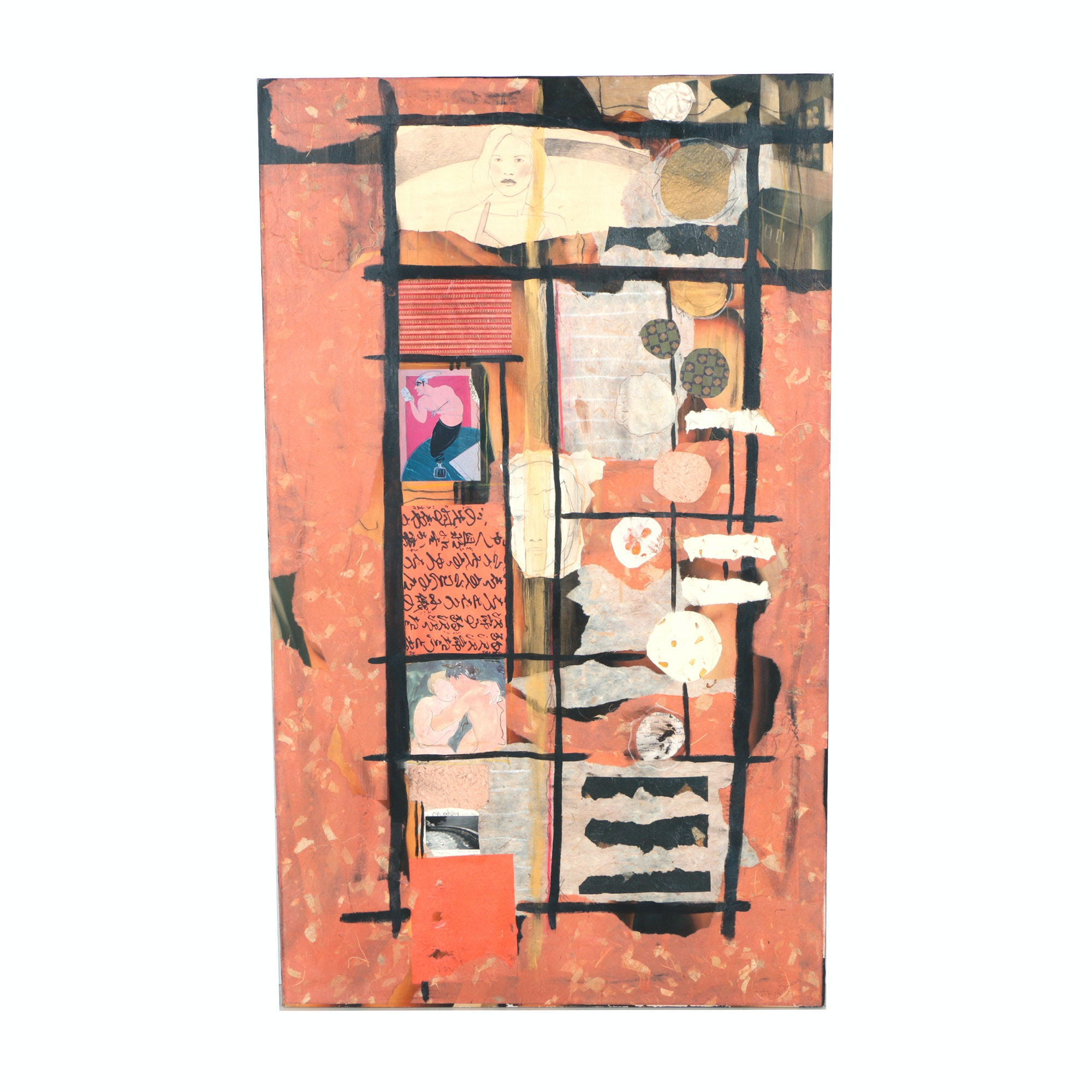 David Widmer Mixed Media Collage on Canvas
